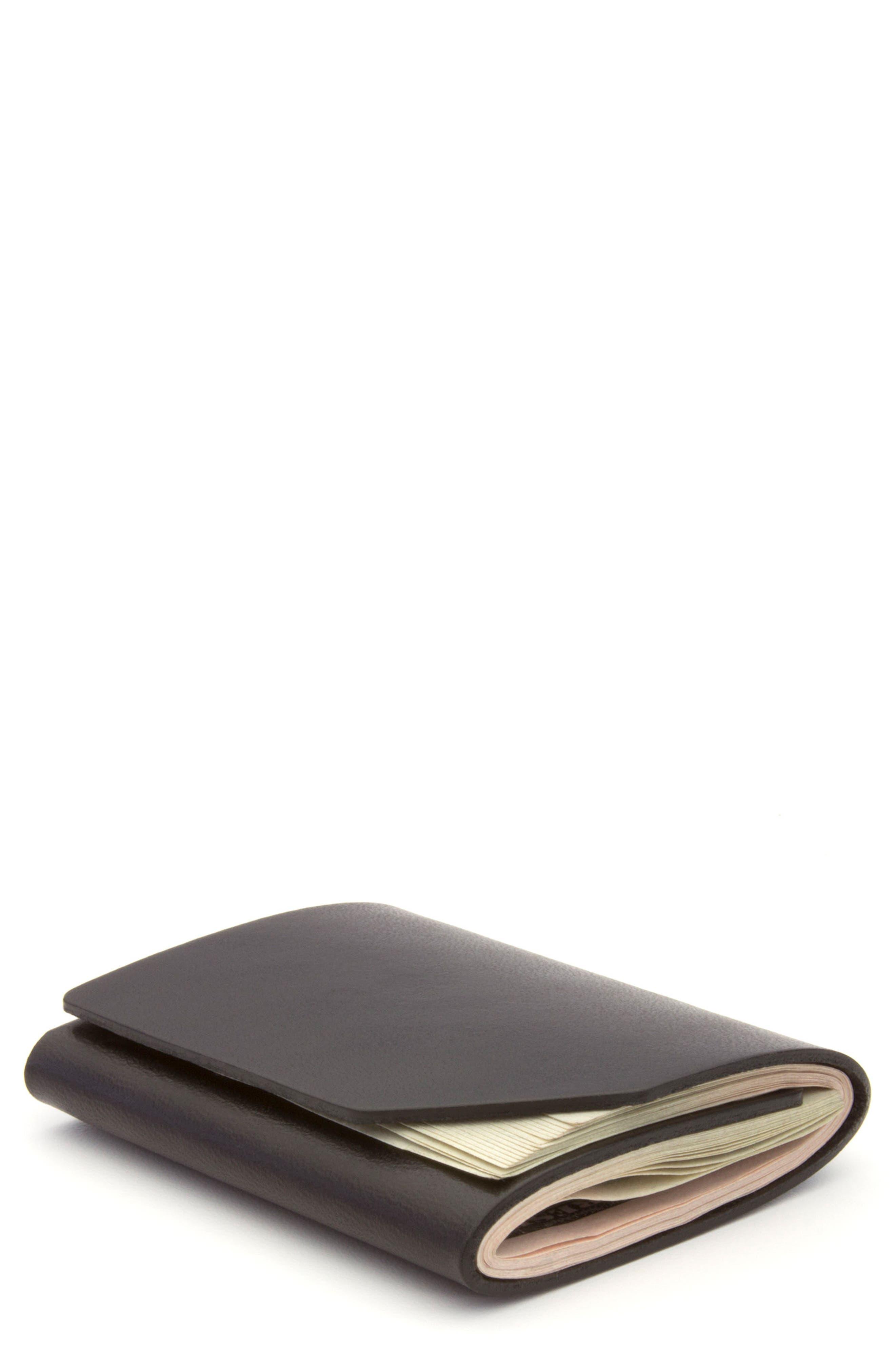 EZRA ARTHUR Cash Fold Wallet, Main, color, JET TOP STITCH