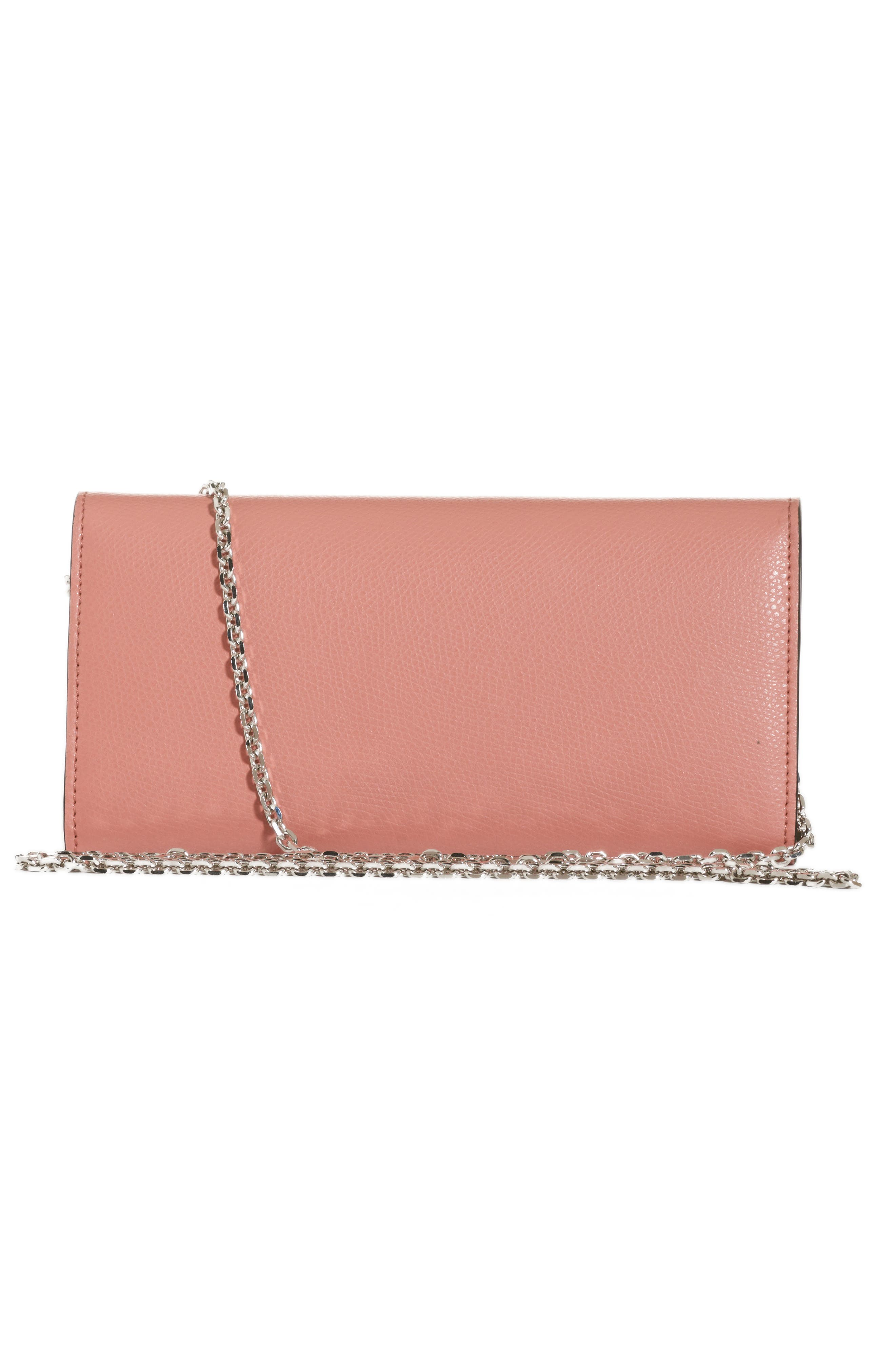FENDI, Logo Calfskin Leather Continental Wallet on a Chain, Alternate thumbnail 2, color, MACARON/ PALLADIO