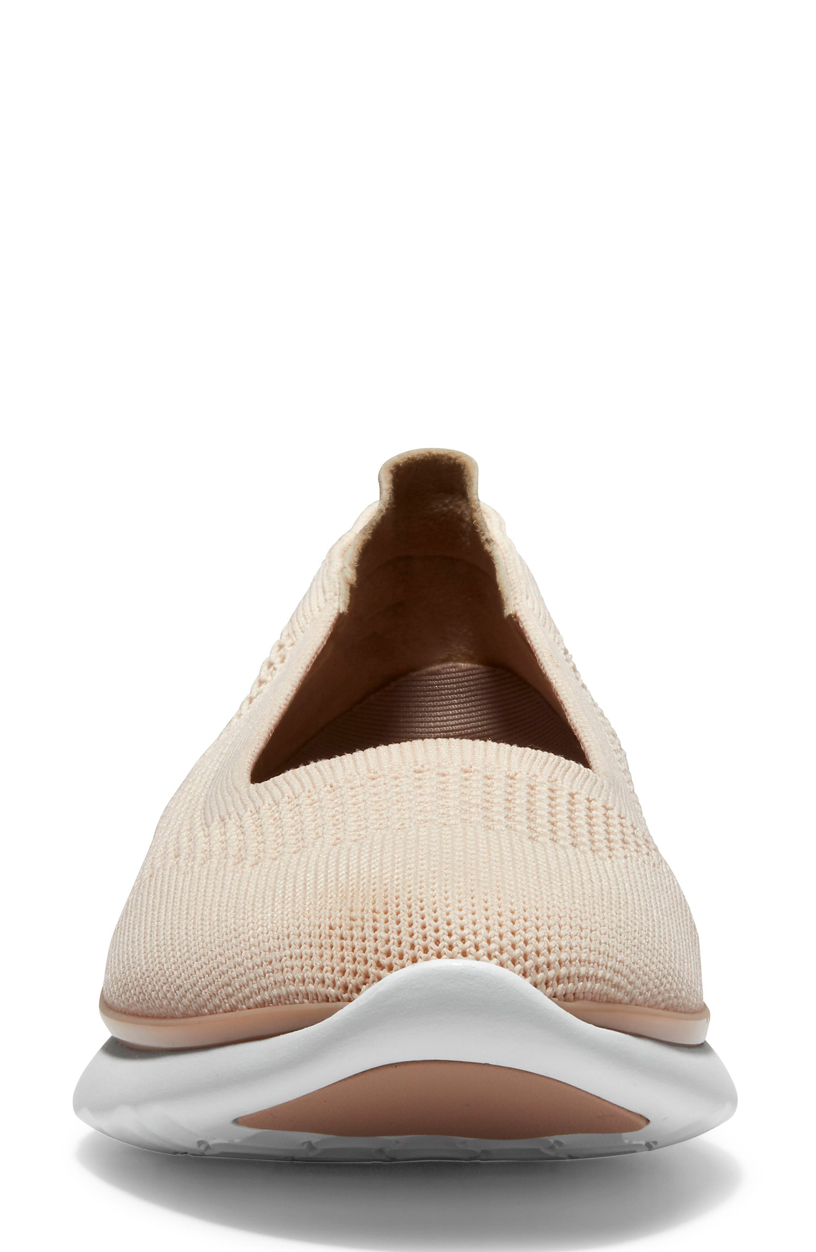COLE HAAN, ZeroGrand Knit Sneaker, Alternate thumbnail 4, color, SAND/ ROSE KNIT/ LEATHER