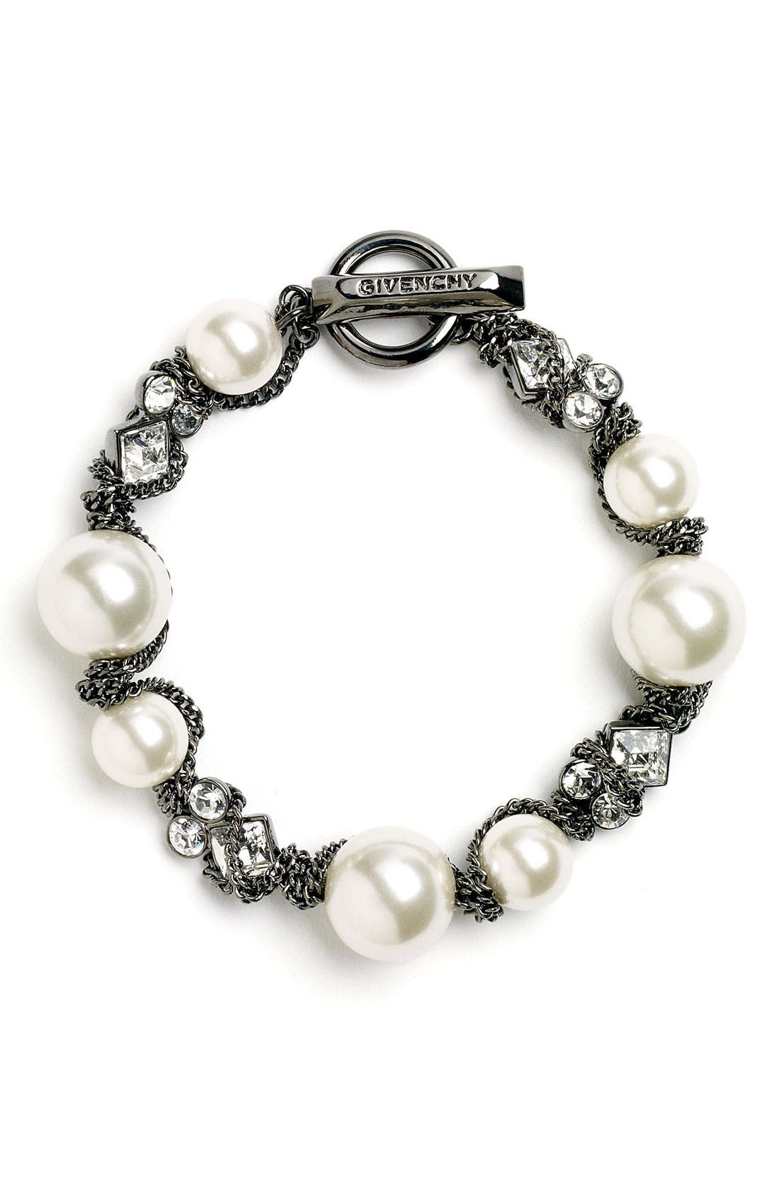 GIVENCHY, Small Faux Pearl Bracelet, Main thumbnail 1, color, 020