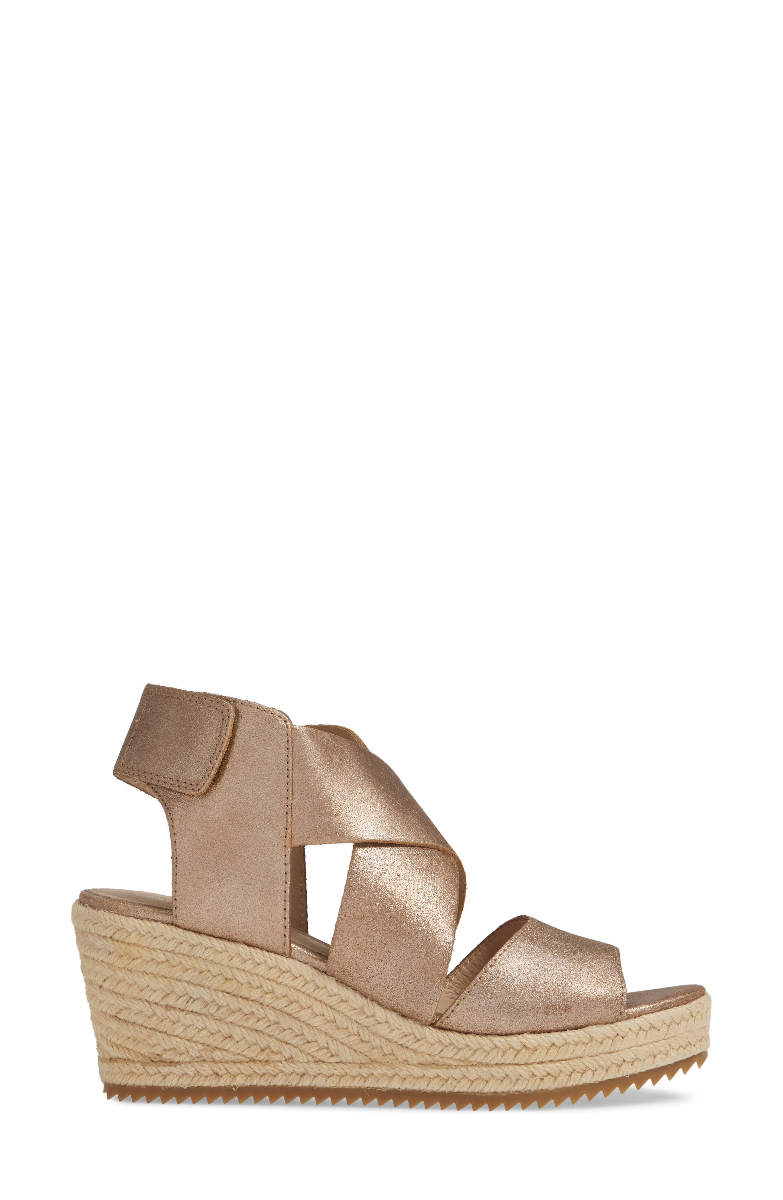EILEEN FISHER, 'Willow' Espadrille Wedge Sandal, Alternate thumbnail 3, color, BRONZE/ BRONZE LEATHER