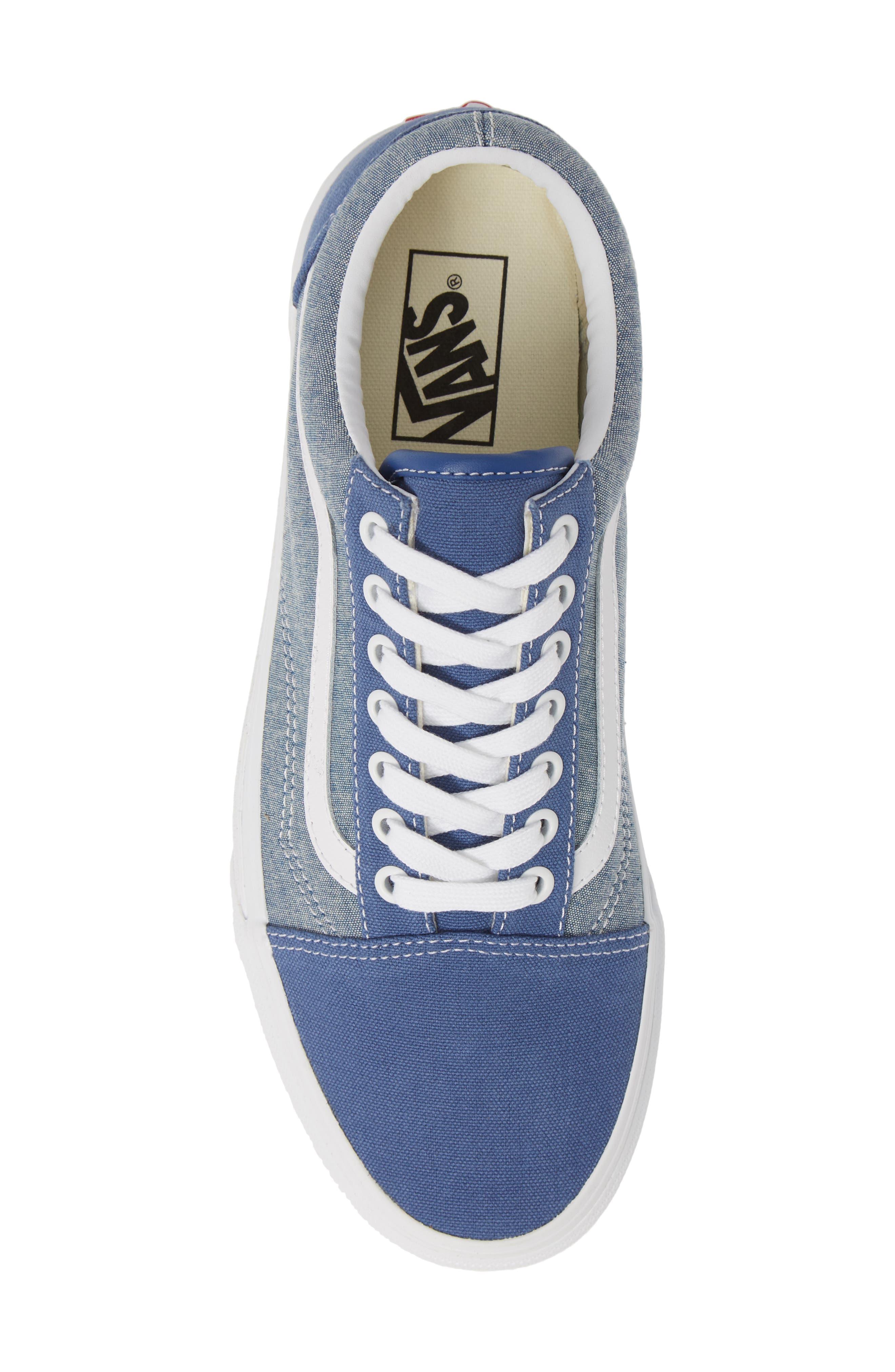 VANS, Old Skool Sneaker, Alternate thumbnail 5, color, CANVAS NAVY/ WHITE CHAMBRAY