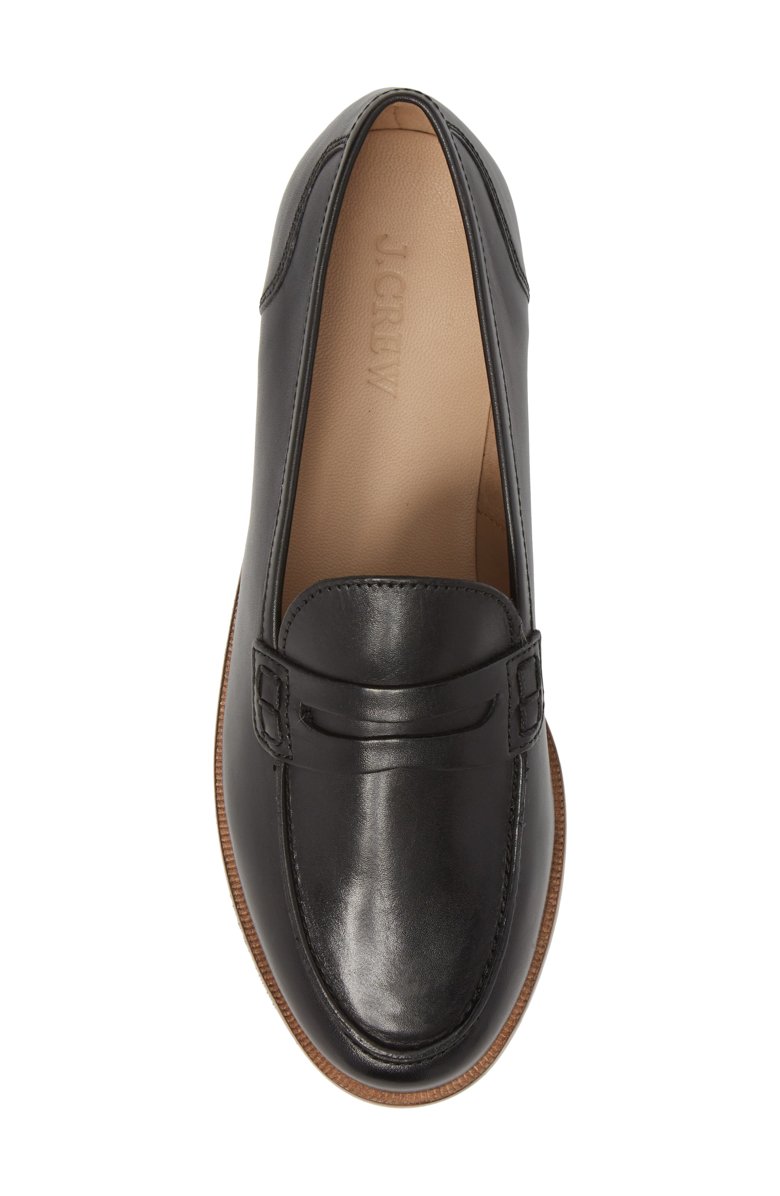J.CREW, Ryan Penny Loafer, Alternate thumbnail 5, color, BLACK LEATHER