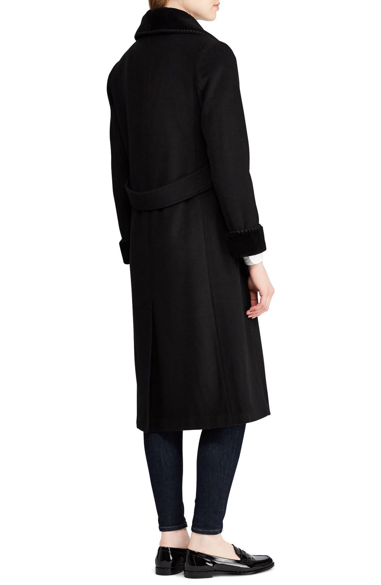 LAUREN RALPH LAUREN, Wool Blend Faux Shearling Trim Coat, Alternate thumbnail 2, color, 001