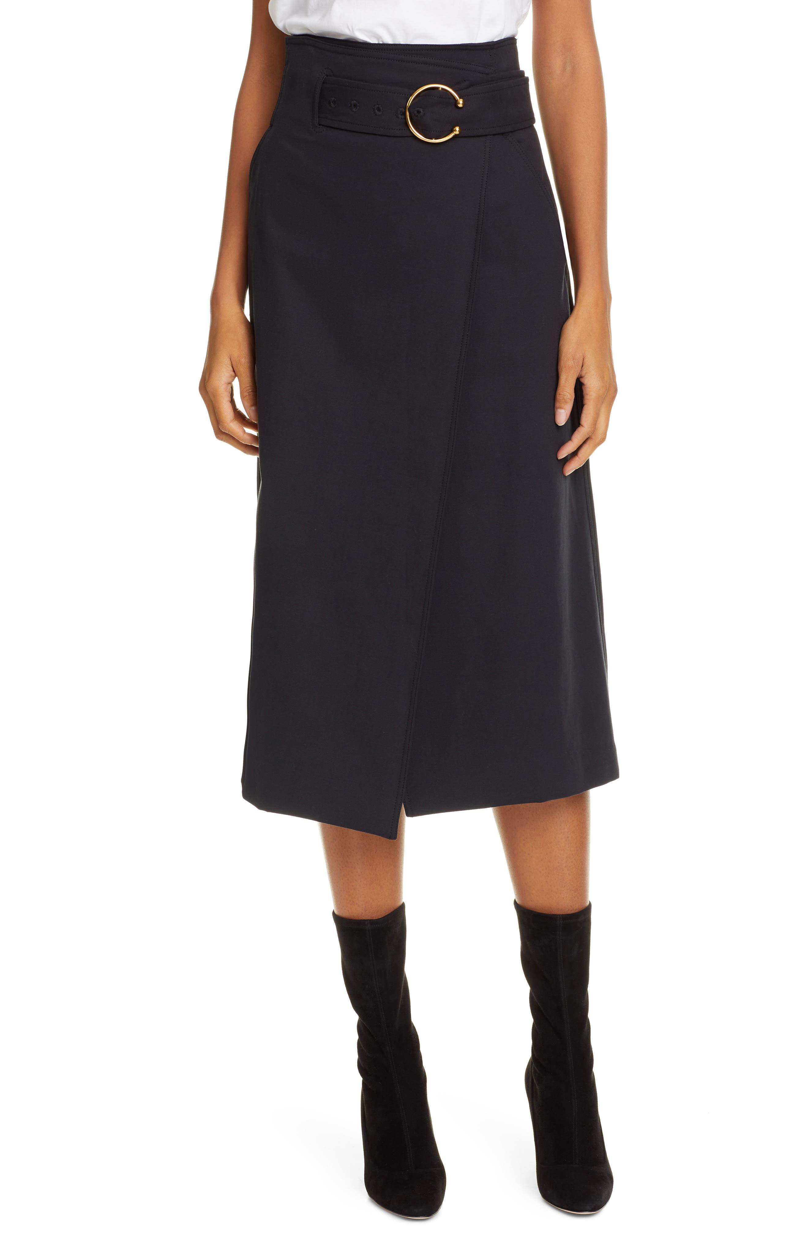 A.L.C. Aldridge Belted Midi Skirt, Main, color, VINTAGE BLACK