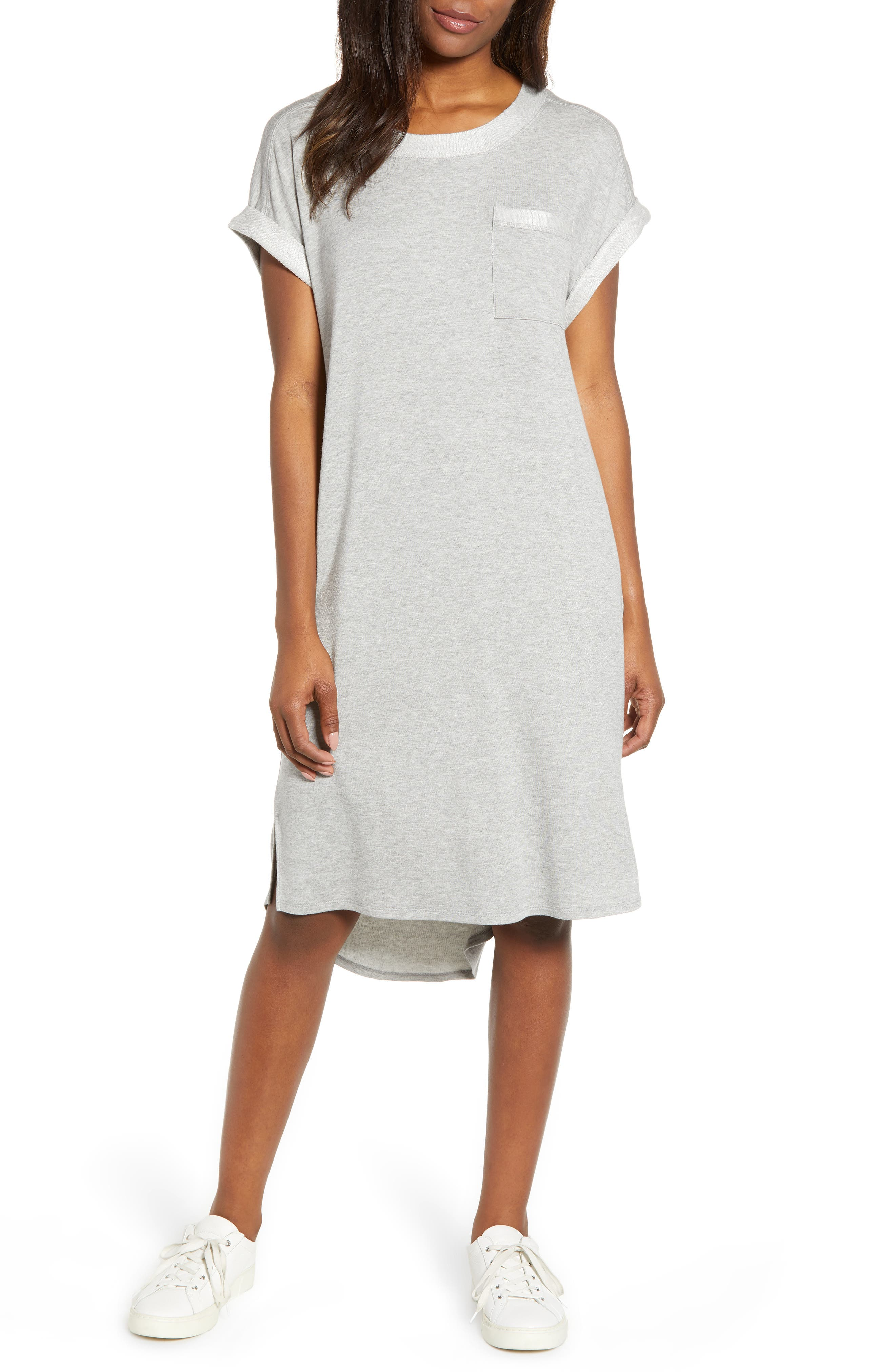 CASLON<SUP>®</SUP> Off-Duty Knit T-Shirt Dress, Main, color, GREY HEATHER