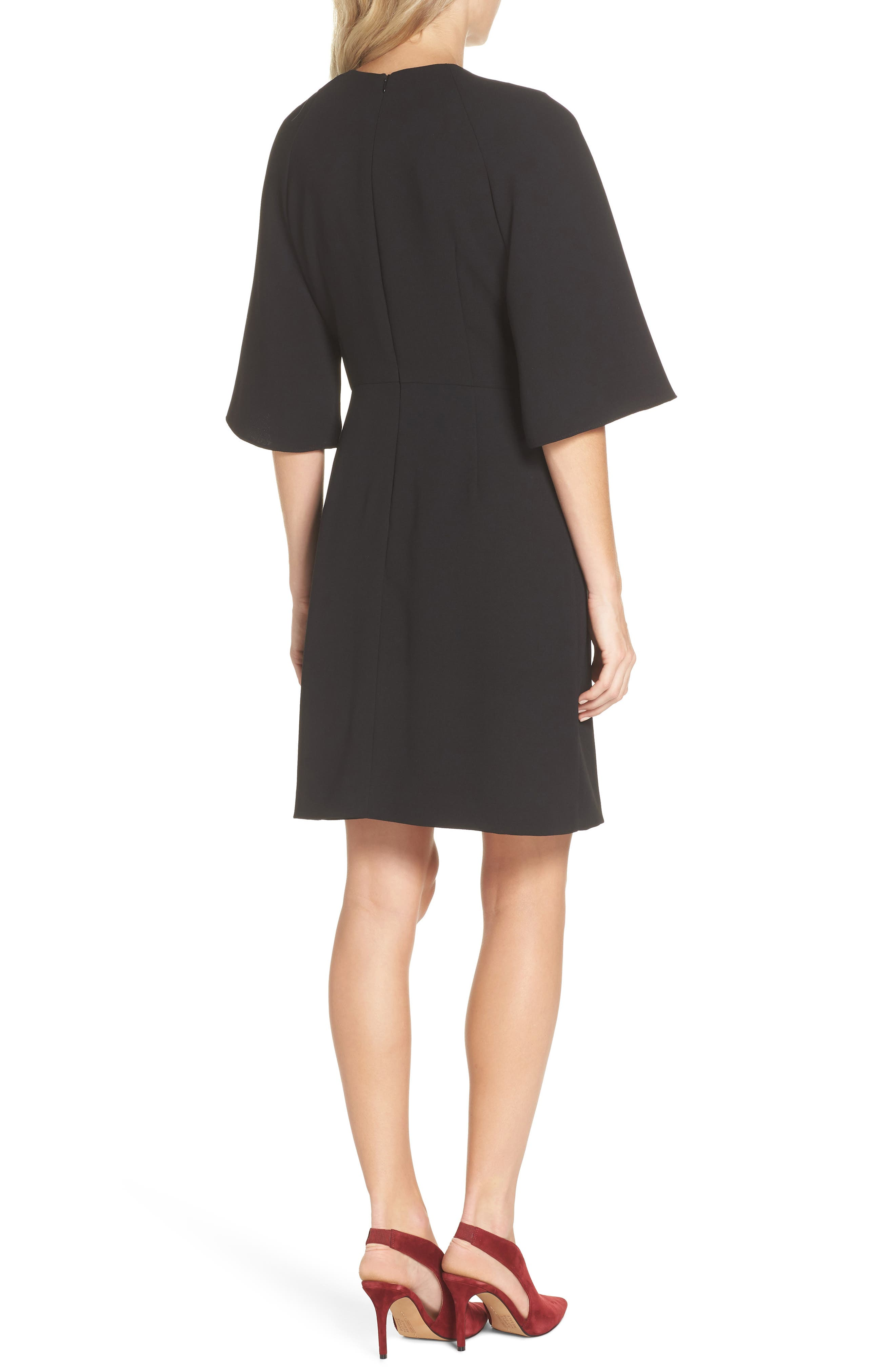 TAHARI, Tie Front Crepe Sheath Dress, Alternate thumbnail 2, color, BLACK