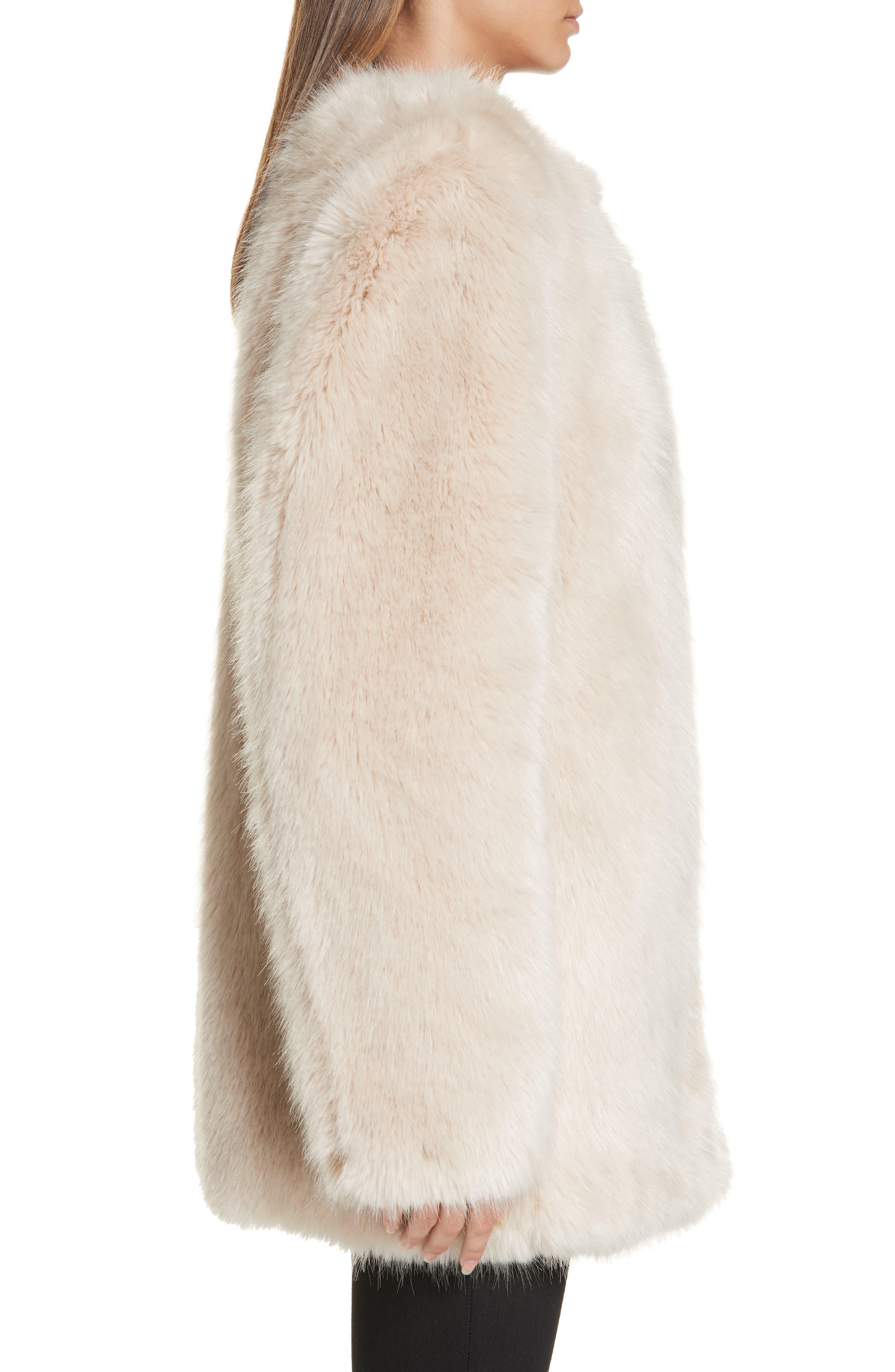HELMUT LANG, Faux Fur Coat, Alternate thumbnail 4, color, OATMEAL