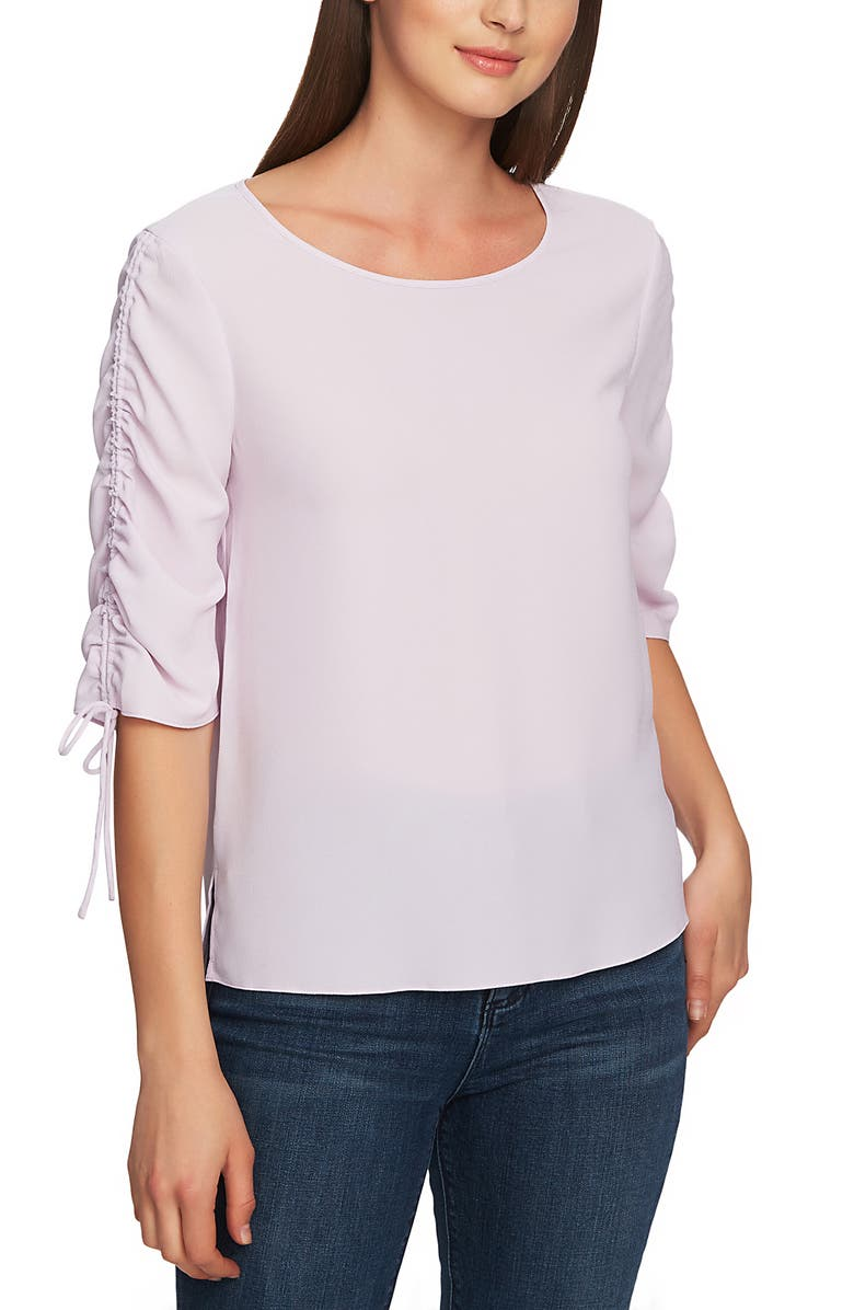 1.state Tops RUCHED DETAIL TIE SLEEVE BLOUSE