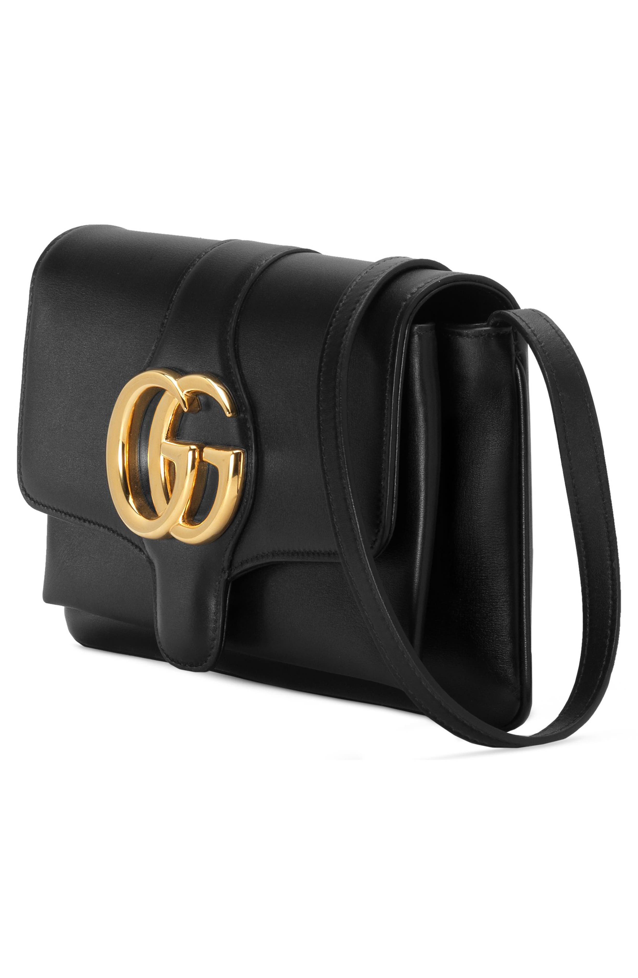 GUCCI, Small Arli Convertible Shoulder Bag, Alternate thumbnail 4, color, NERO