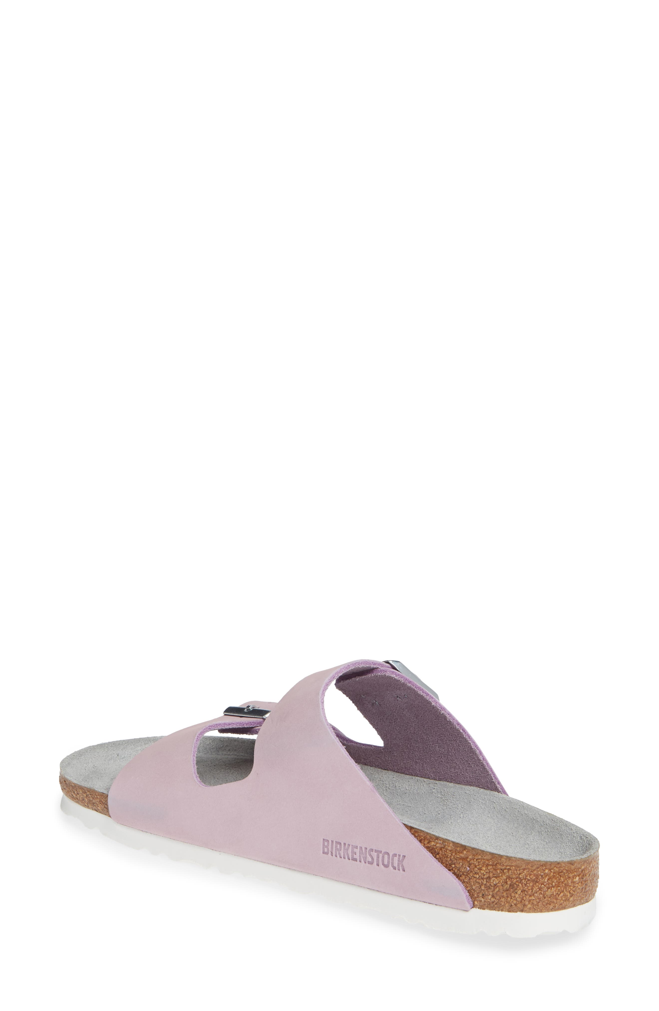 BIRKENSTOCK, Arizona Soft Footbed Sandal, Alternate thumbnail 2, color, LILAC NUBUCK