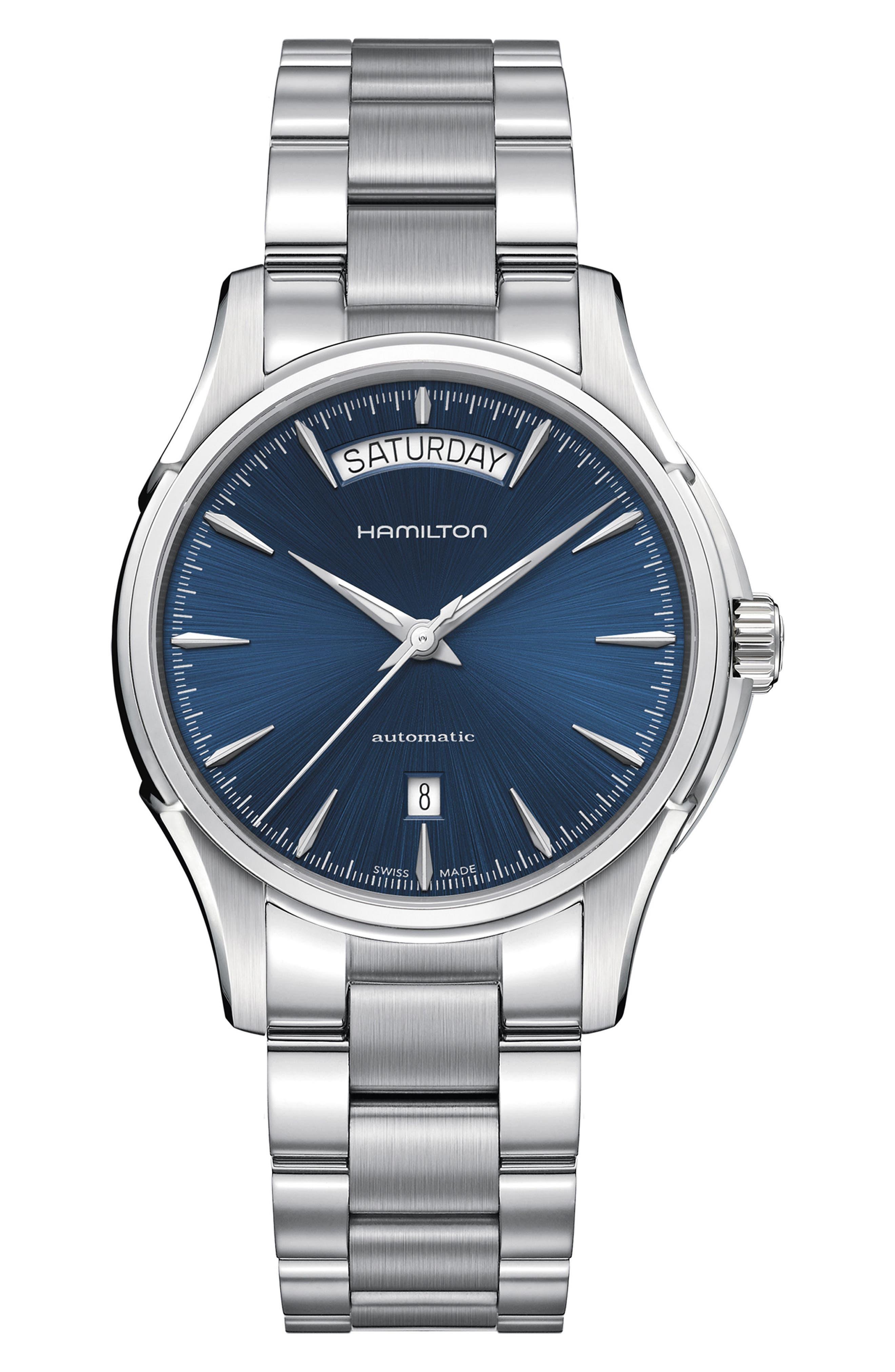 HAMILTON, Jazzmaster Automatic Bracelet Watch, 40mm, Main thumbnail 1, color, SILVER/ BLUE/ SILVER