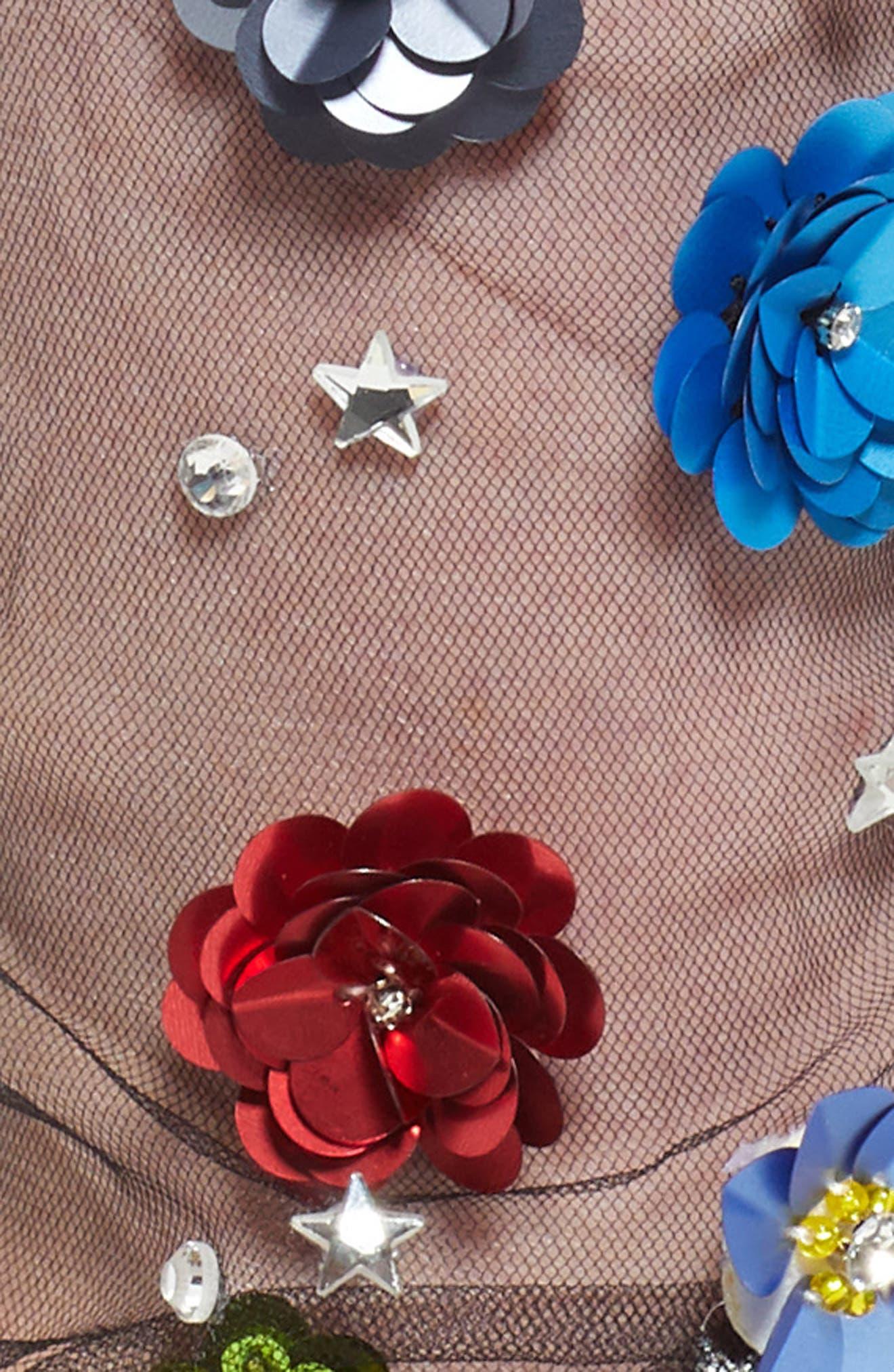 LIRIKA MATOSHI, Flower Tulle Crew Socks, Alternate thumbnail 2, color, 001