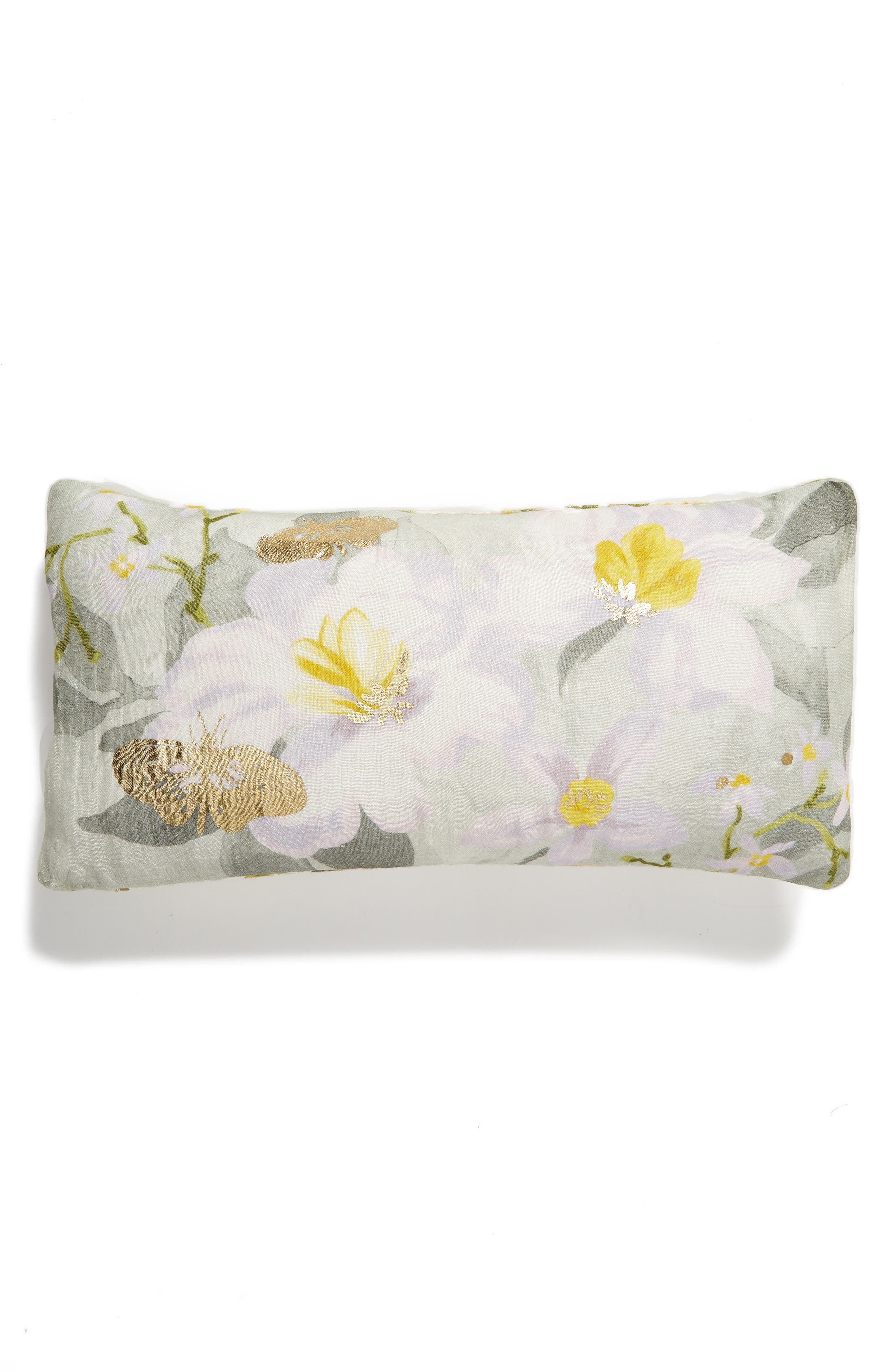 NORDSTROM AT HOME, Floral Linen Accent Pillow, Main thumbnail 1, color, GREY VAPOR MULTI