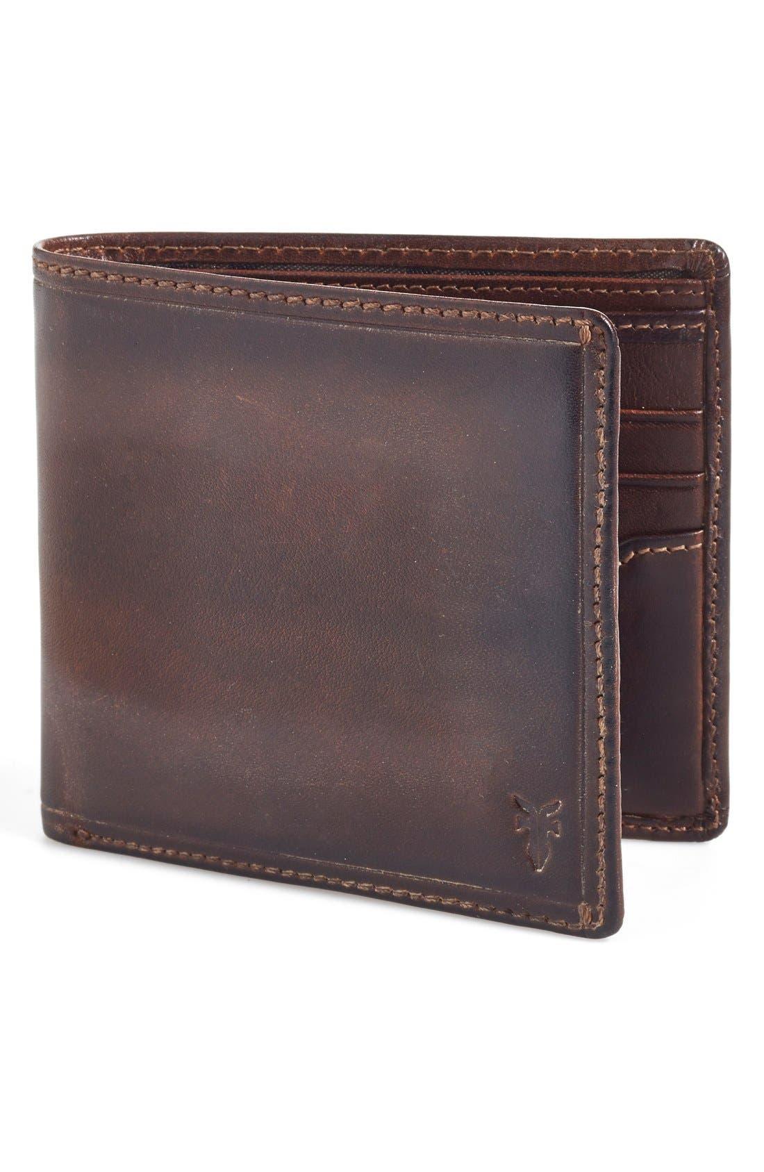 FRYE, 'Logan' Leather Billfold Wallet, Main thumbnail 1, color, SLATE