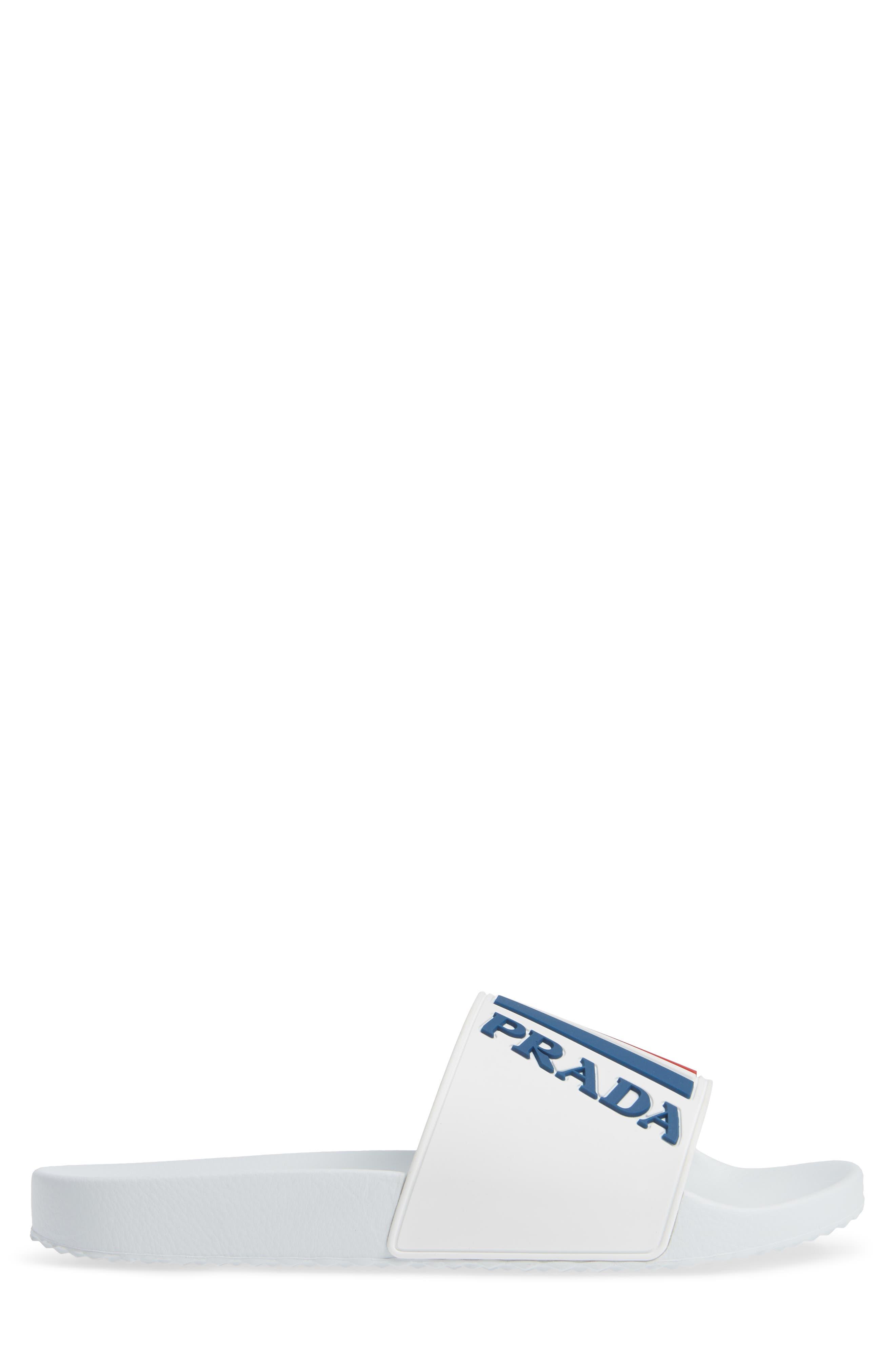 PRADA, Linea Rossa Logo Slide Sandal, Alternate thumbnail 3, color, WHITE/ BLUE