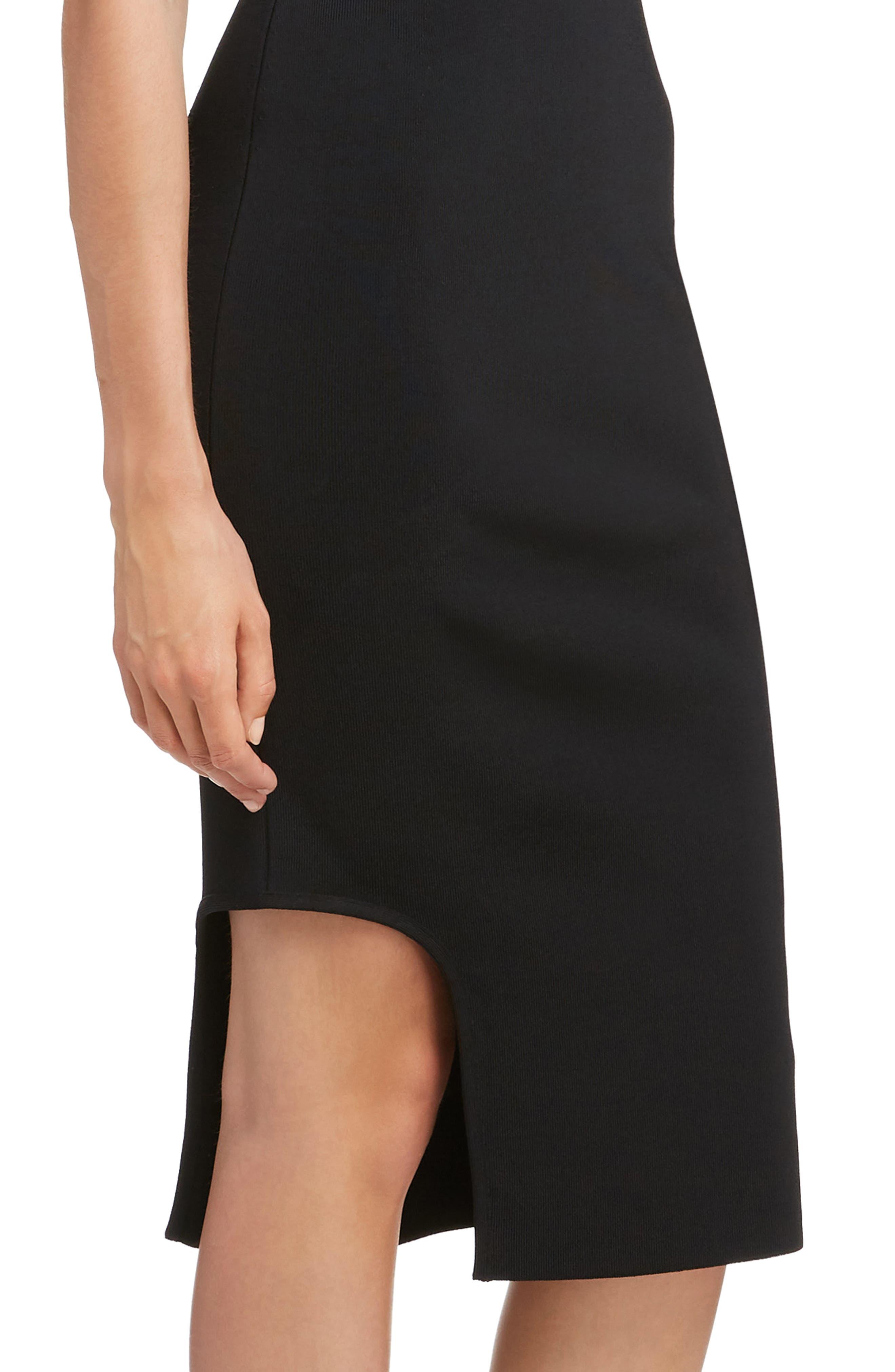 VICTORIA BECKHAM, Cutout Knit Dress, Alternate thumbnail 4, color, BLACK