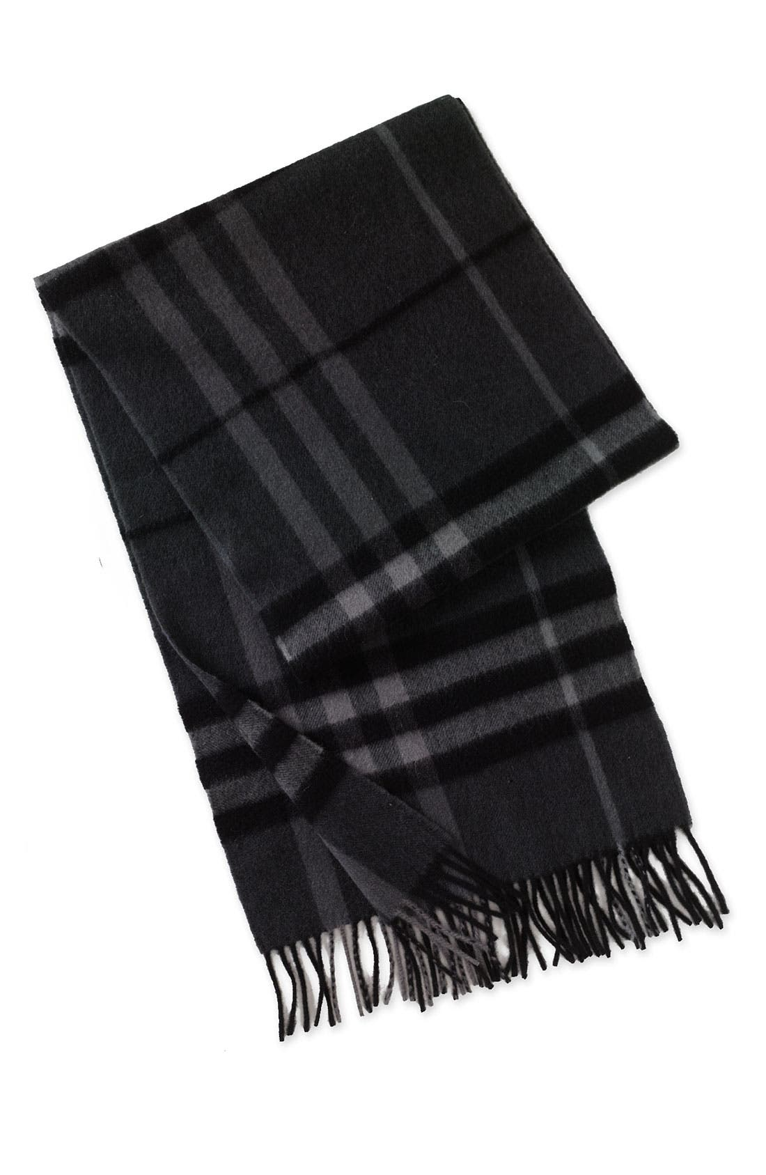 BURBERRY, Heritage Check Cashmere Scarf, Main thumbnail 1, color, 012