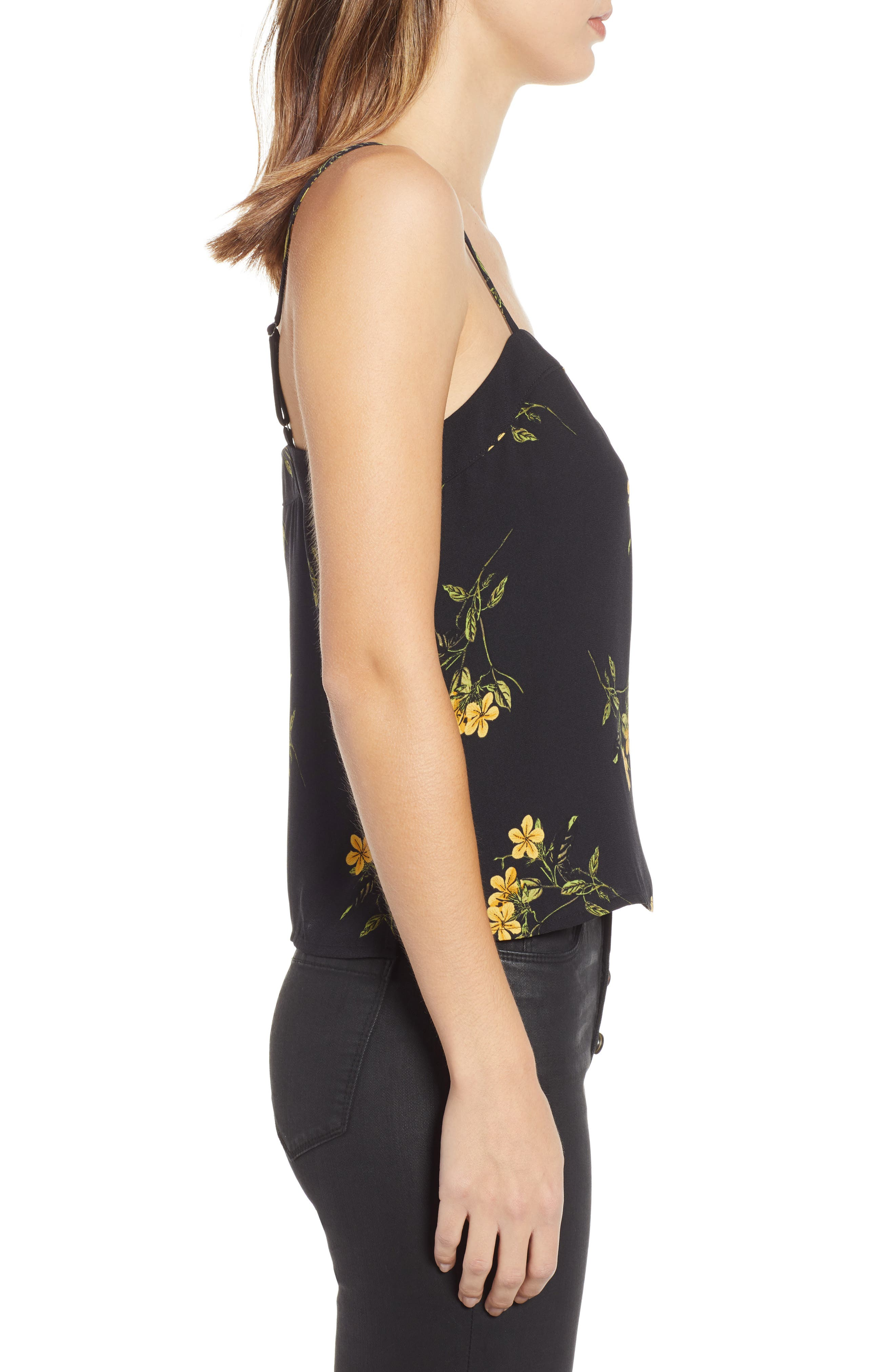 BP., Straight Neck Camisole Top, Alternate thumbnail 4, color, BLACK BIOTONIC FLORAL