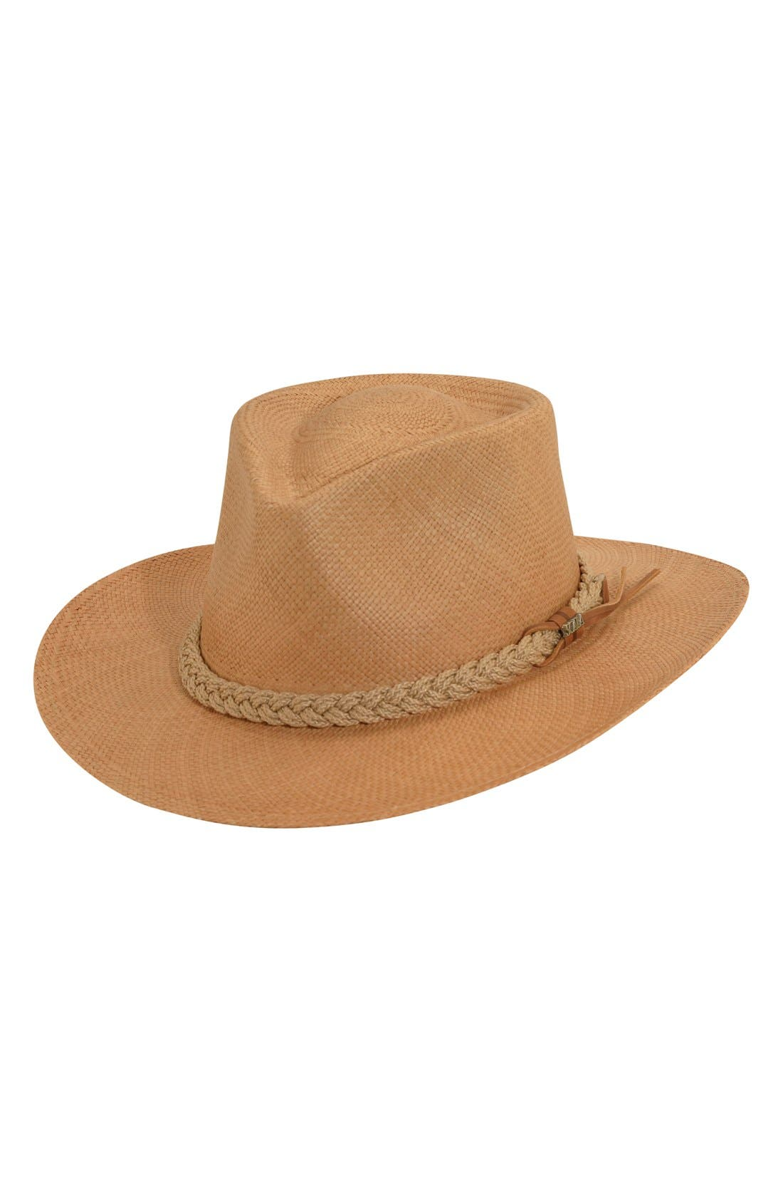 SCALA Panama Straw Outback Hat, Main, color, PUTTY