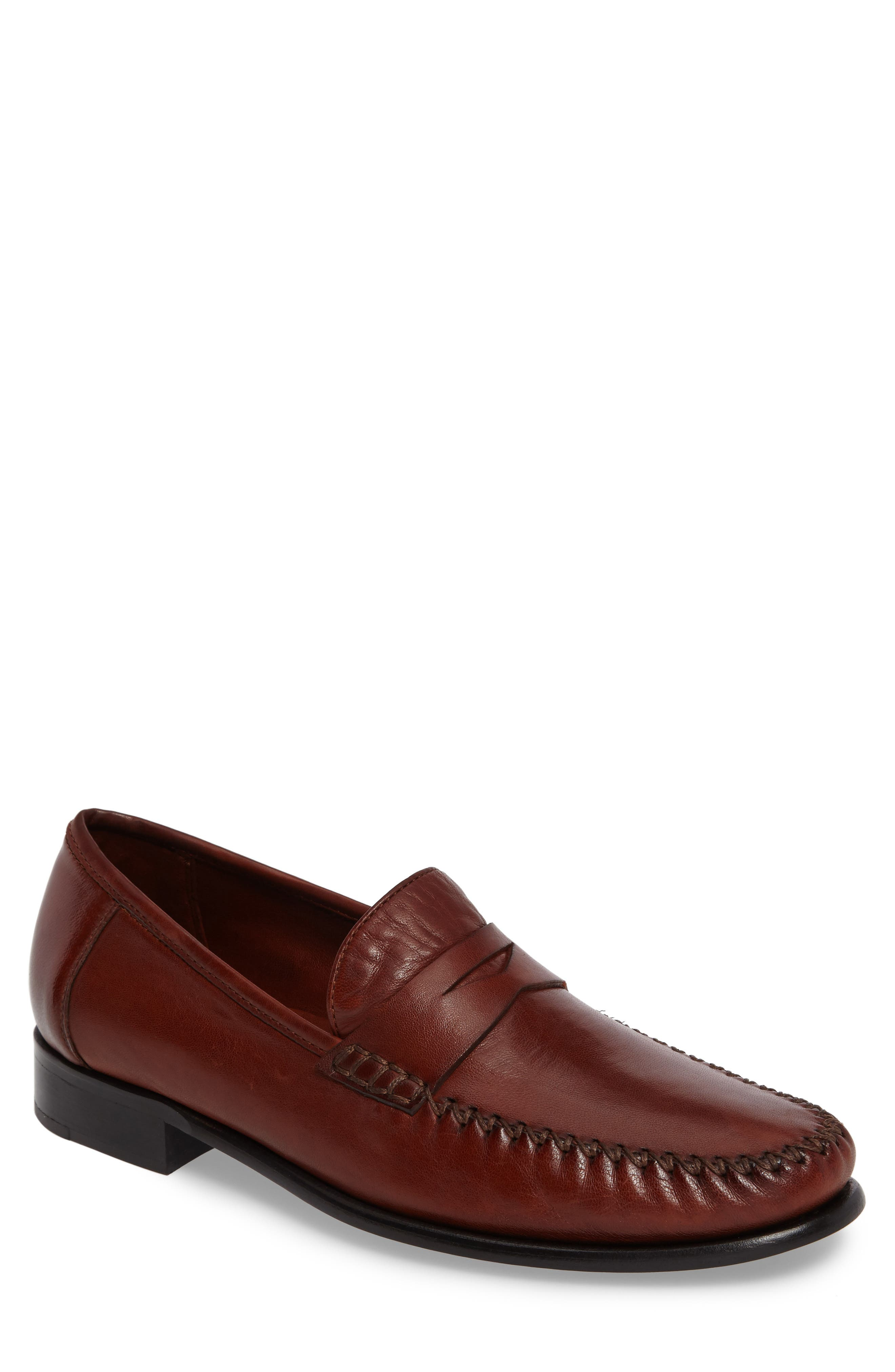 ROBERT ZUR Penny Loafer, Main, color, DARK LUGGAGE LEATHER