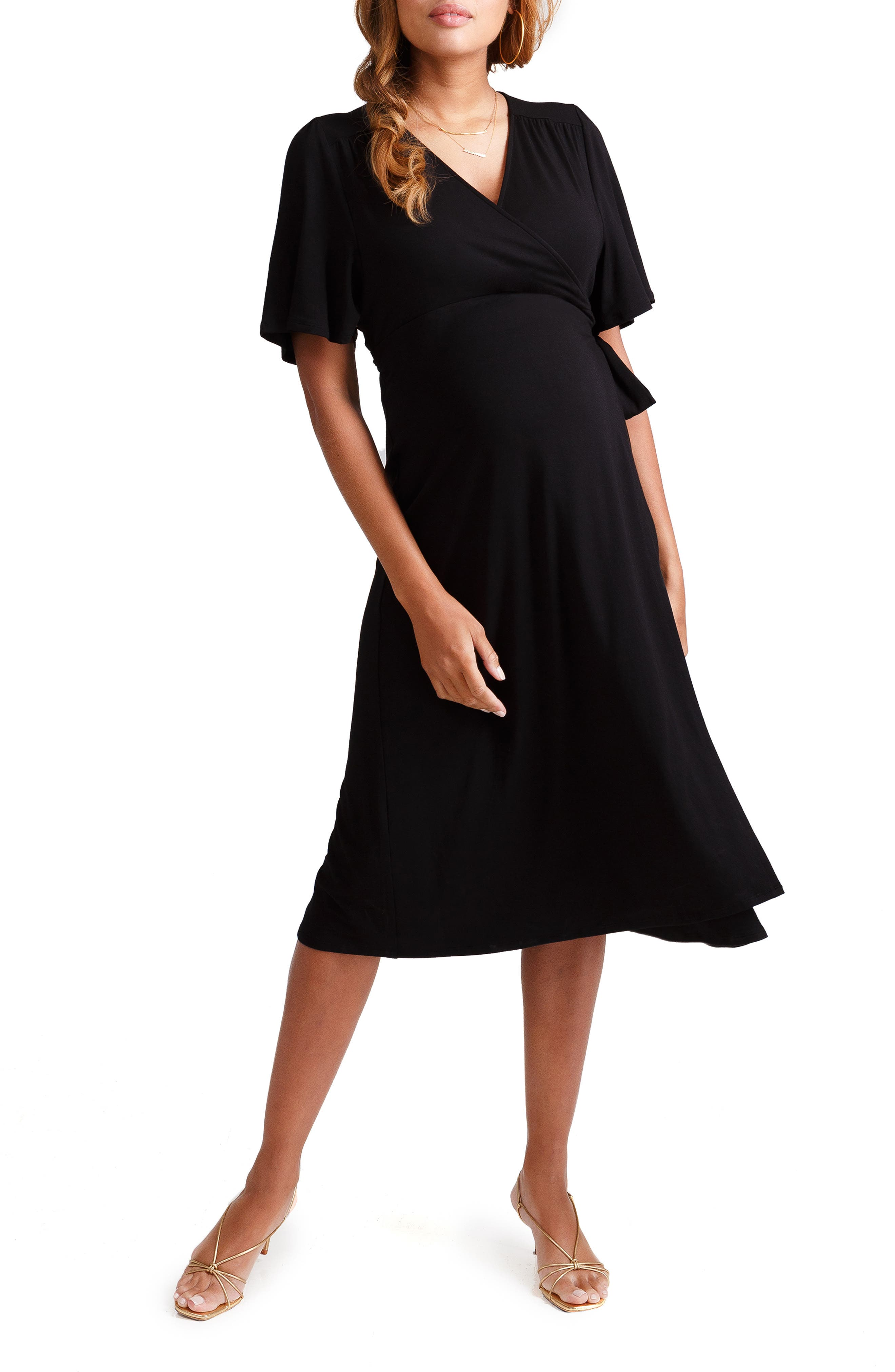 INGRID & ISABEL<SUP>®</SUP>, Flutter Sleeve Knit Wrap Maternity/Nursing Dress, Main thumbnail 1, color, JET BLACK