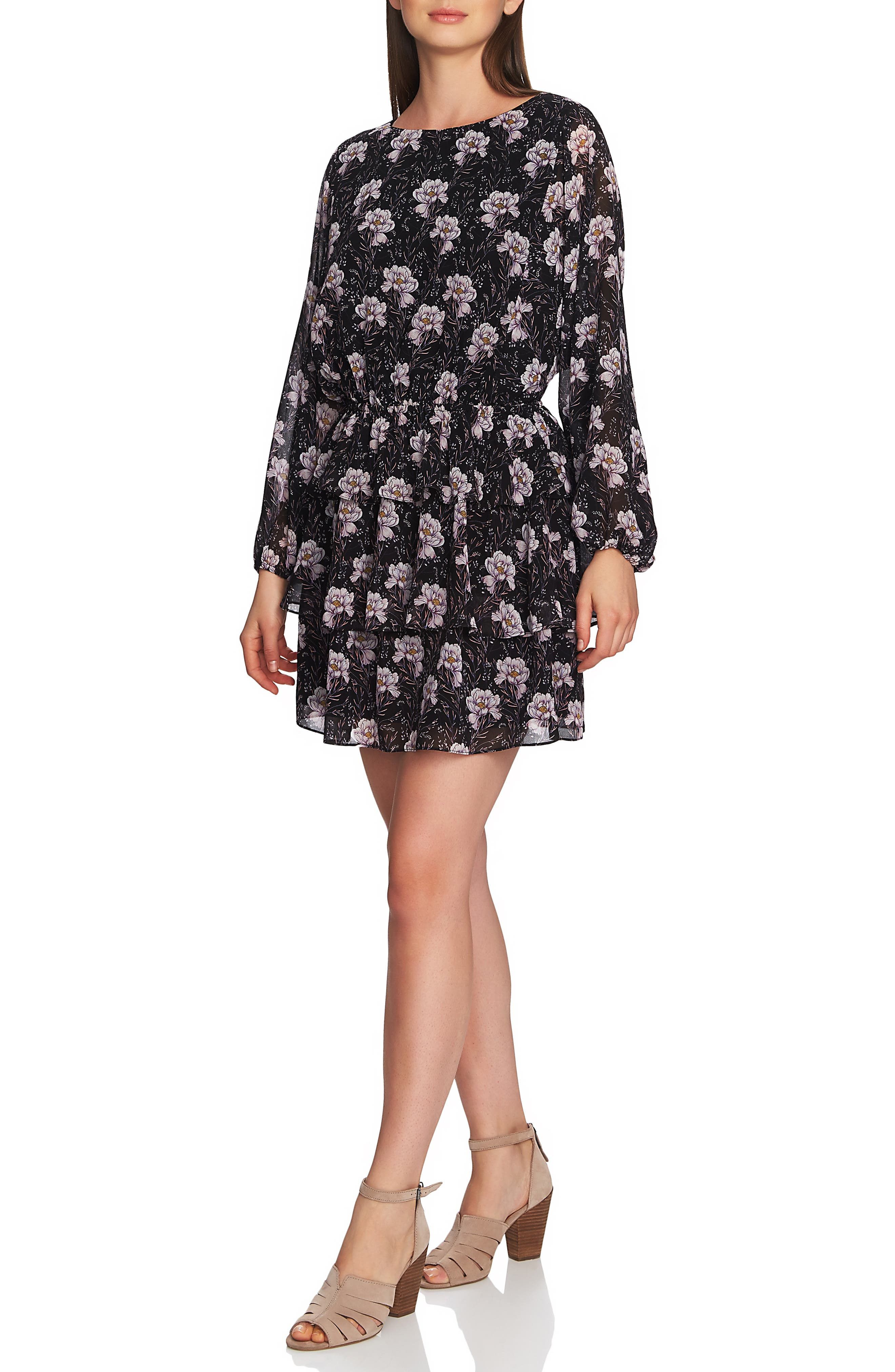 1.STATE, Bloomsbury Floral Tiered Ruffle Dress, Alternate thumbnail 3, color, RICH BLACK MULTI