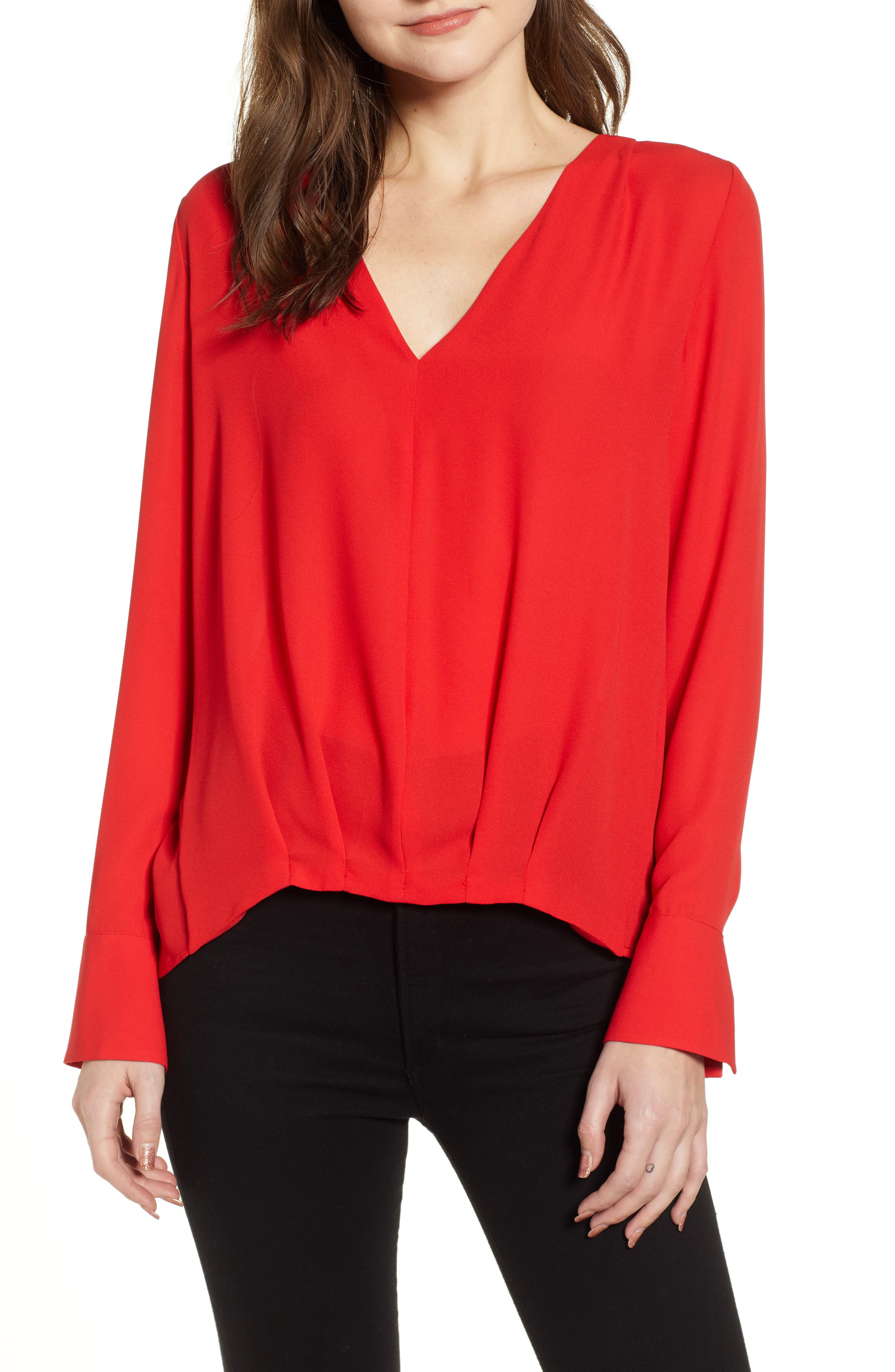 CHELSEA28 Tucked Top, Main, color, RED CHINOISE