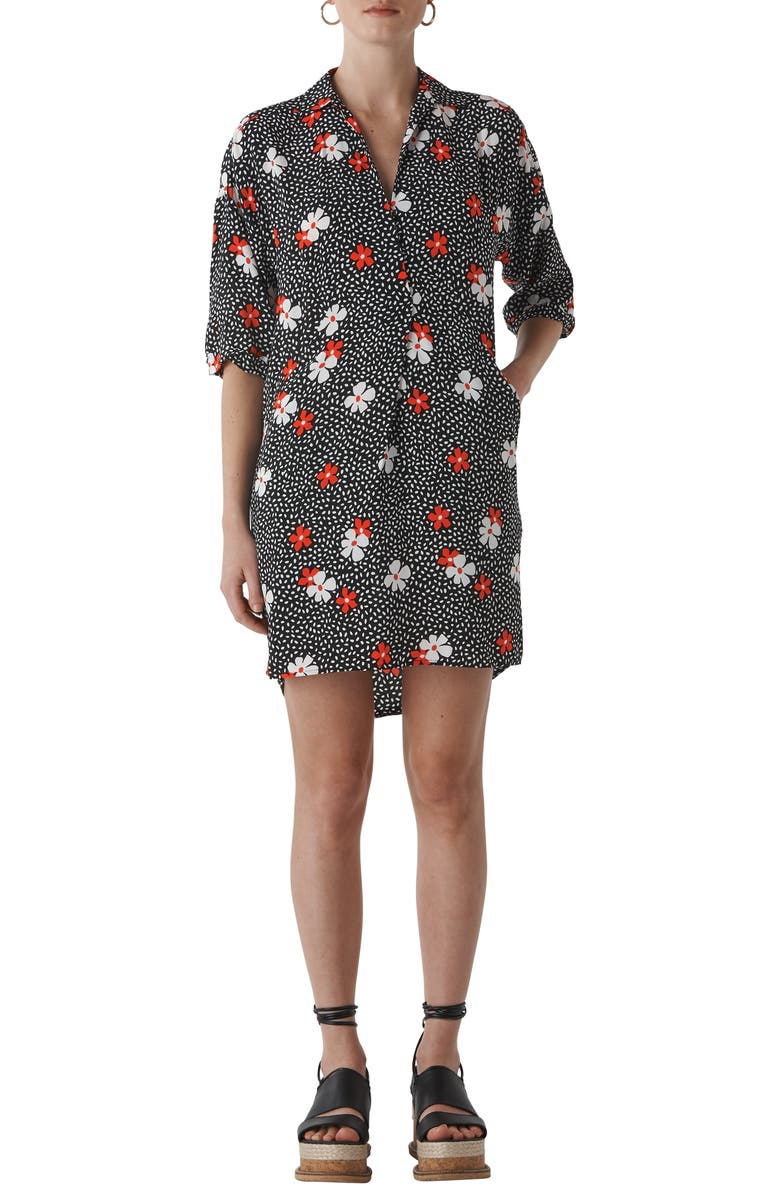Whistles LOLA FLORAL CONFETTI PRINT HIGH/LOW DRESS