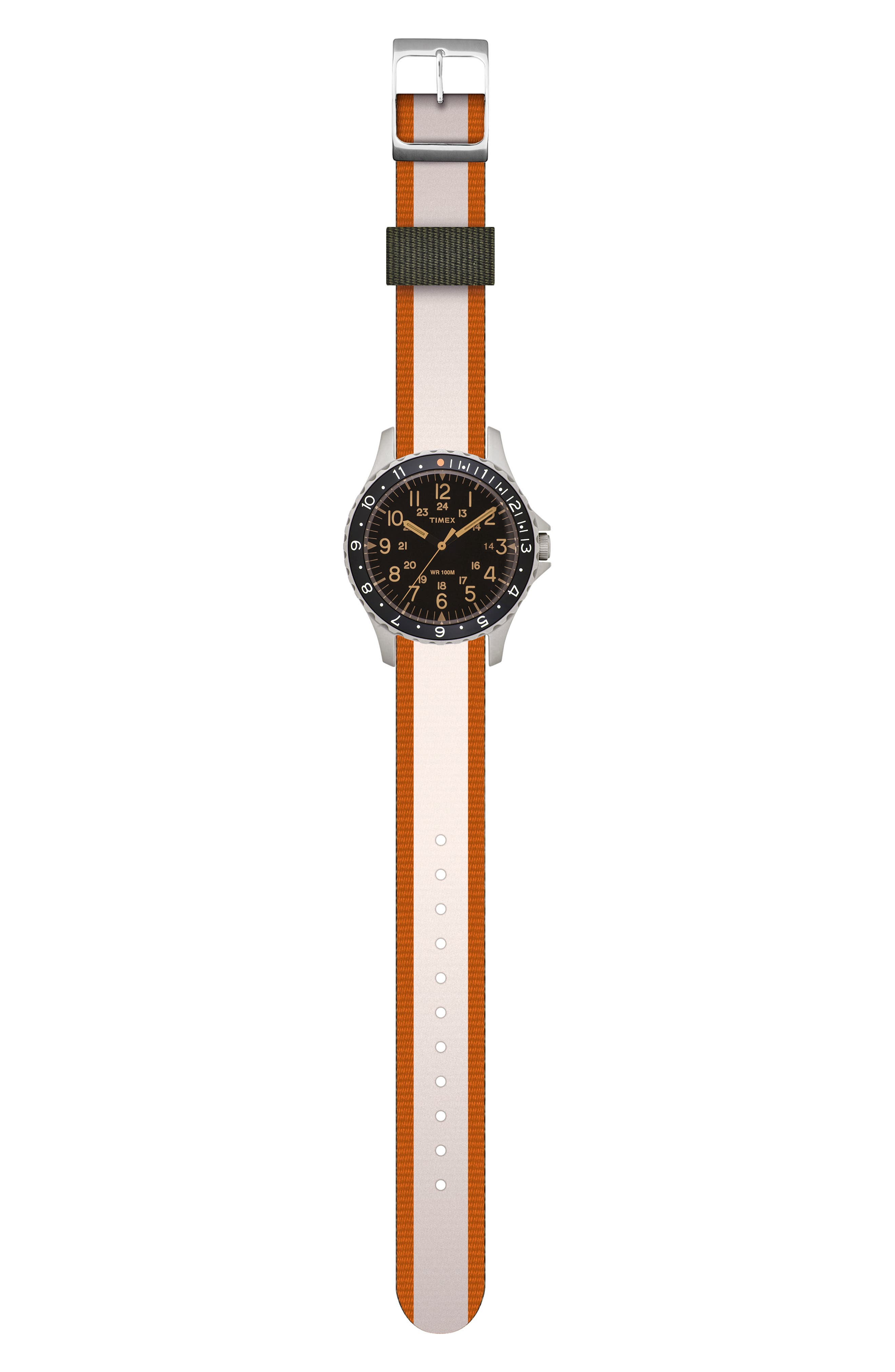 TIMEX<SUP>®</SUP> ARCHIVE, Navi Ocean Reversible NATO Strap Watch, 38mm, Alternate thumbnail 4, color, BLACK/ ORANGE/ WHITE
