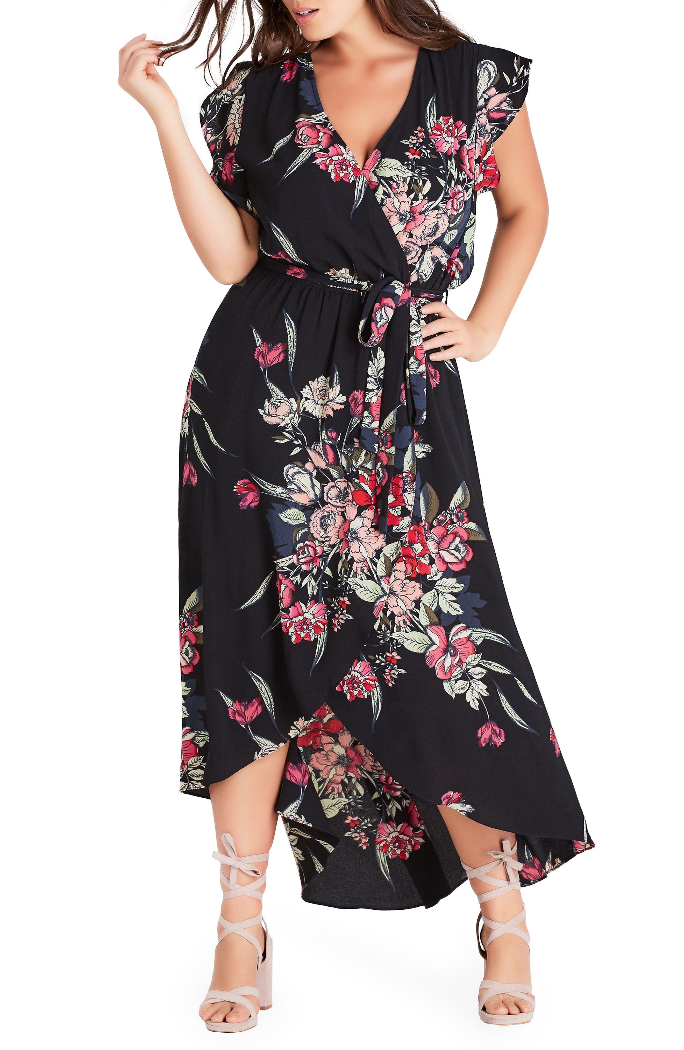 CITY CHIC Misty Floral Wrap Maxi Dress, Main, color, MISTY FLORAL