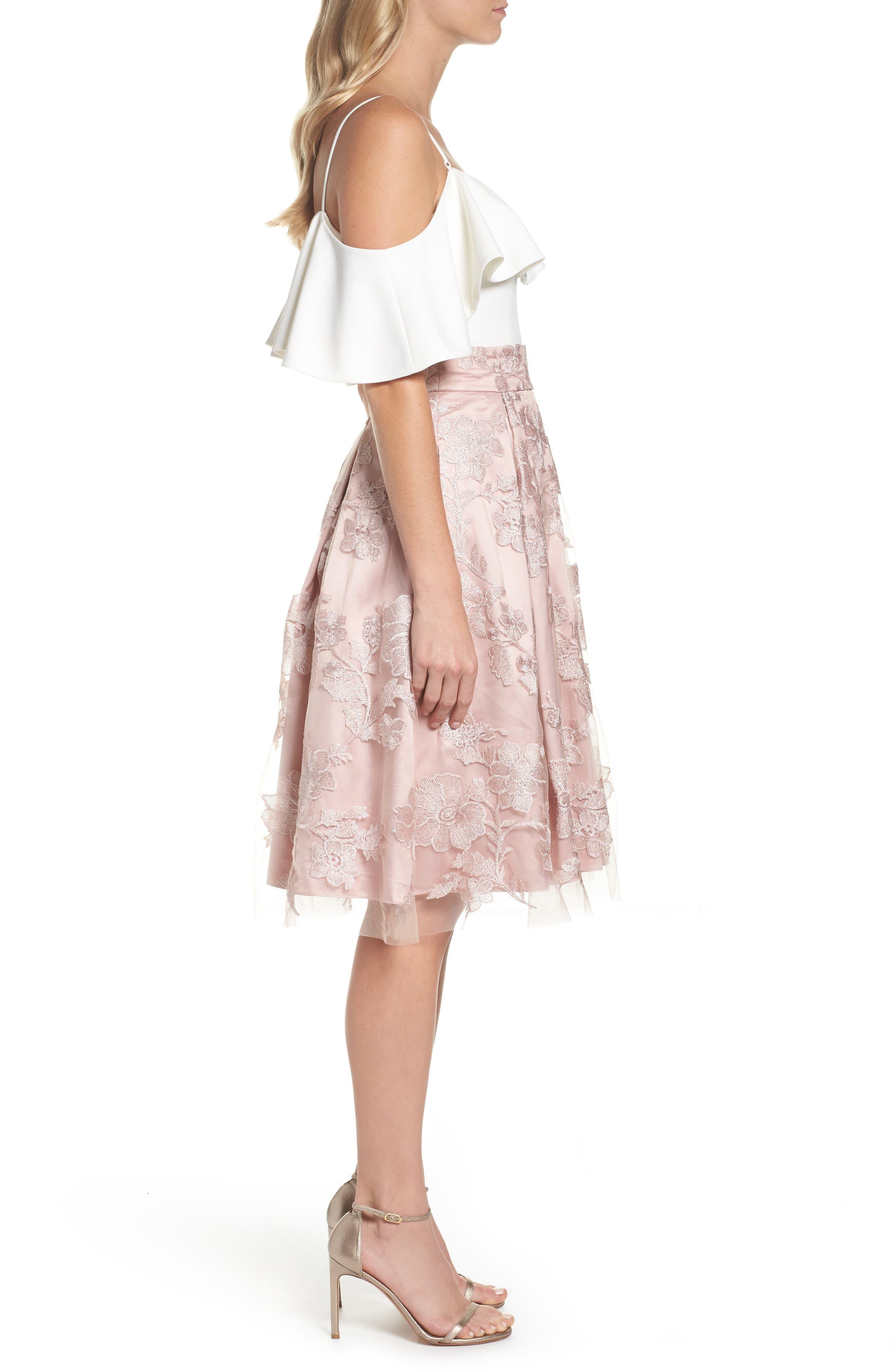 ELIZA J, Floral Embroidered Skirt, Alternate thumbnail 9, color, 254