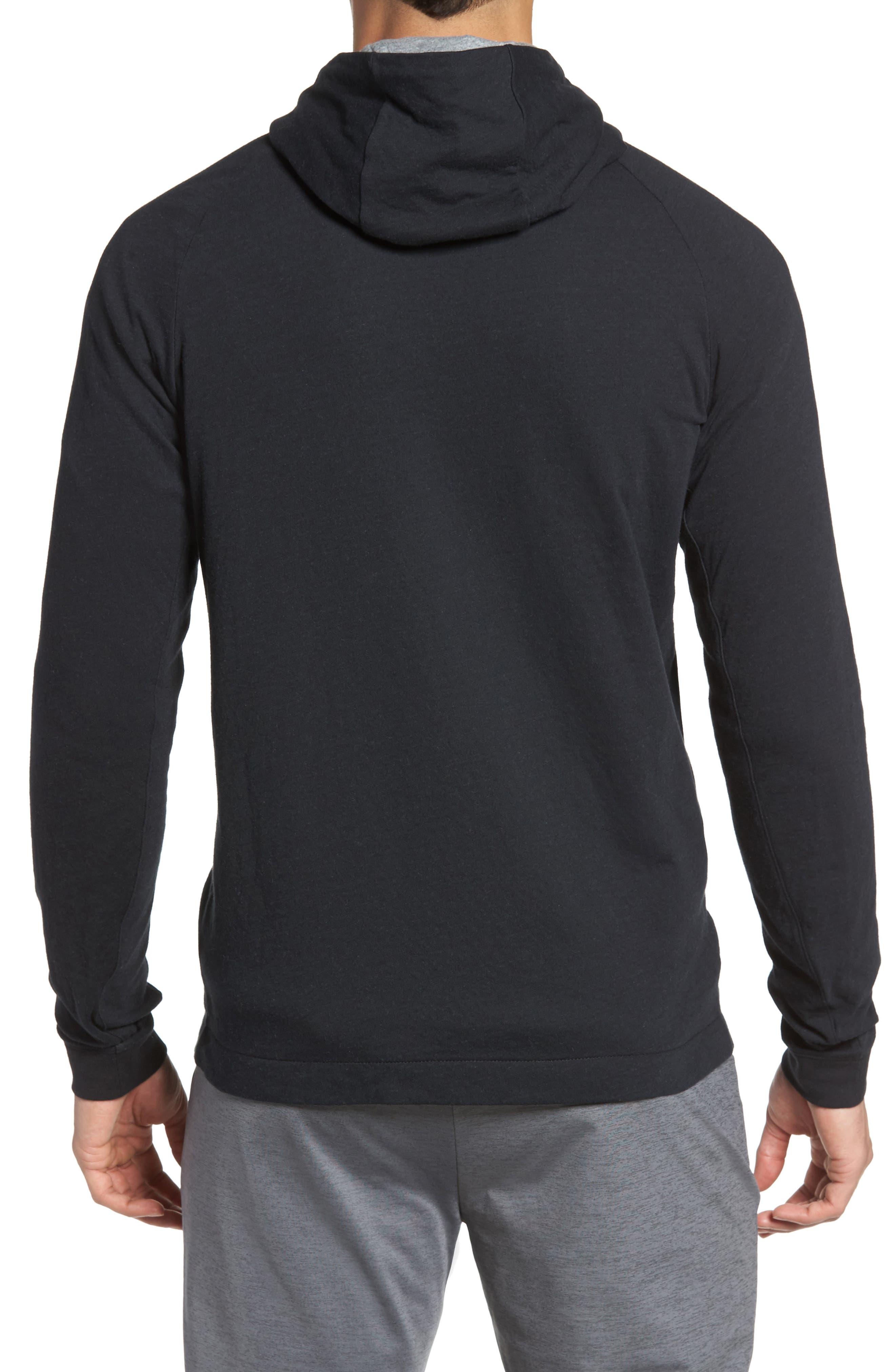 NIKE, Tech Regular Fit Fleece Hoodie, Alternate thumbnail 2, color, BLACK/ CARBON HEATHER