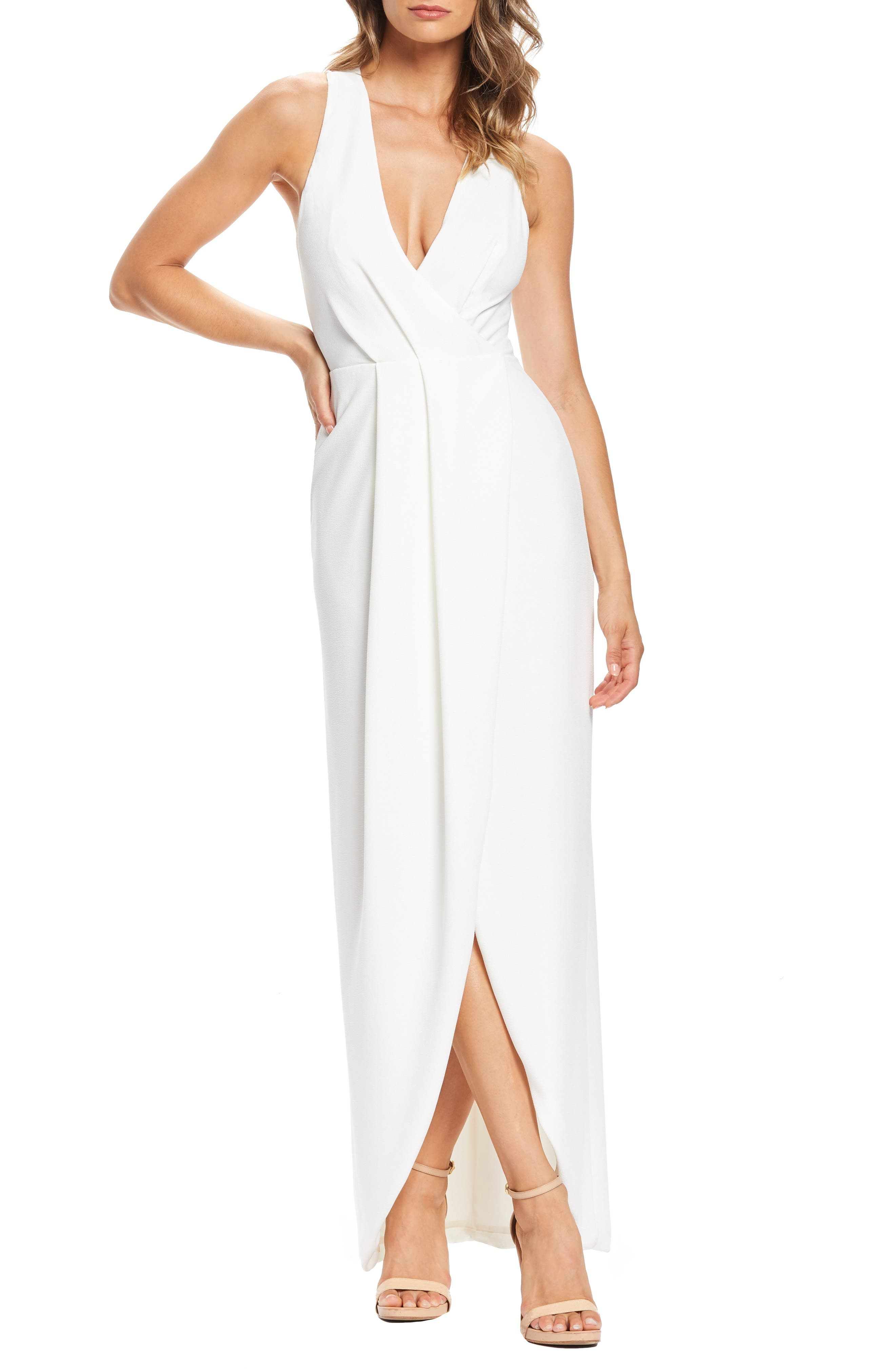 Dress The Population Ariel Racerback Faux Wrap Evening Dress, Ivory
