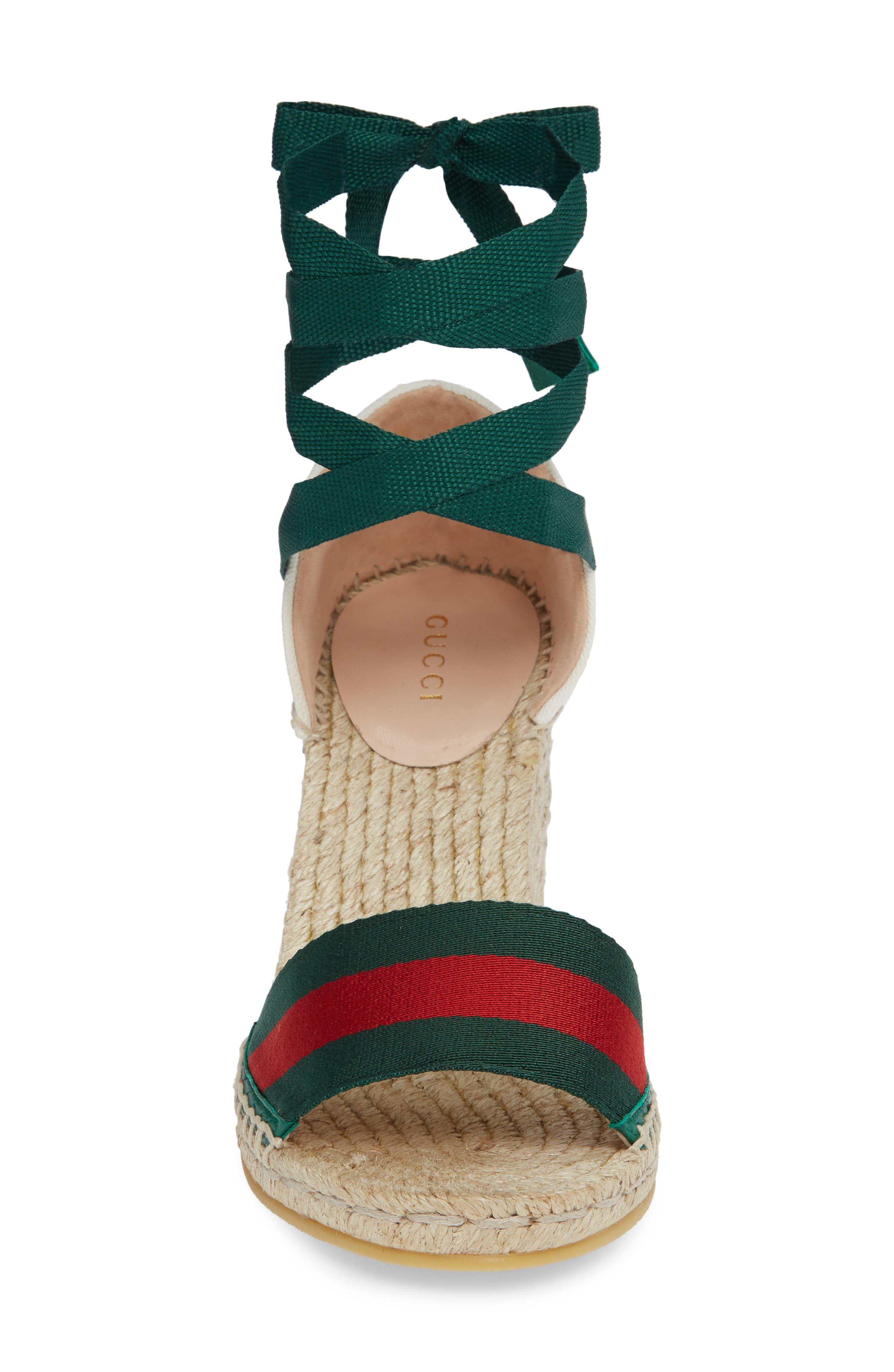 GUCCI, Lilibeth Sylvie Web Espadrille Wedge Sandal, Alternate thumbnail 4, color, WHITE/ GREEN
