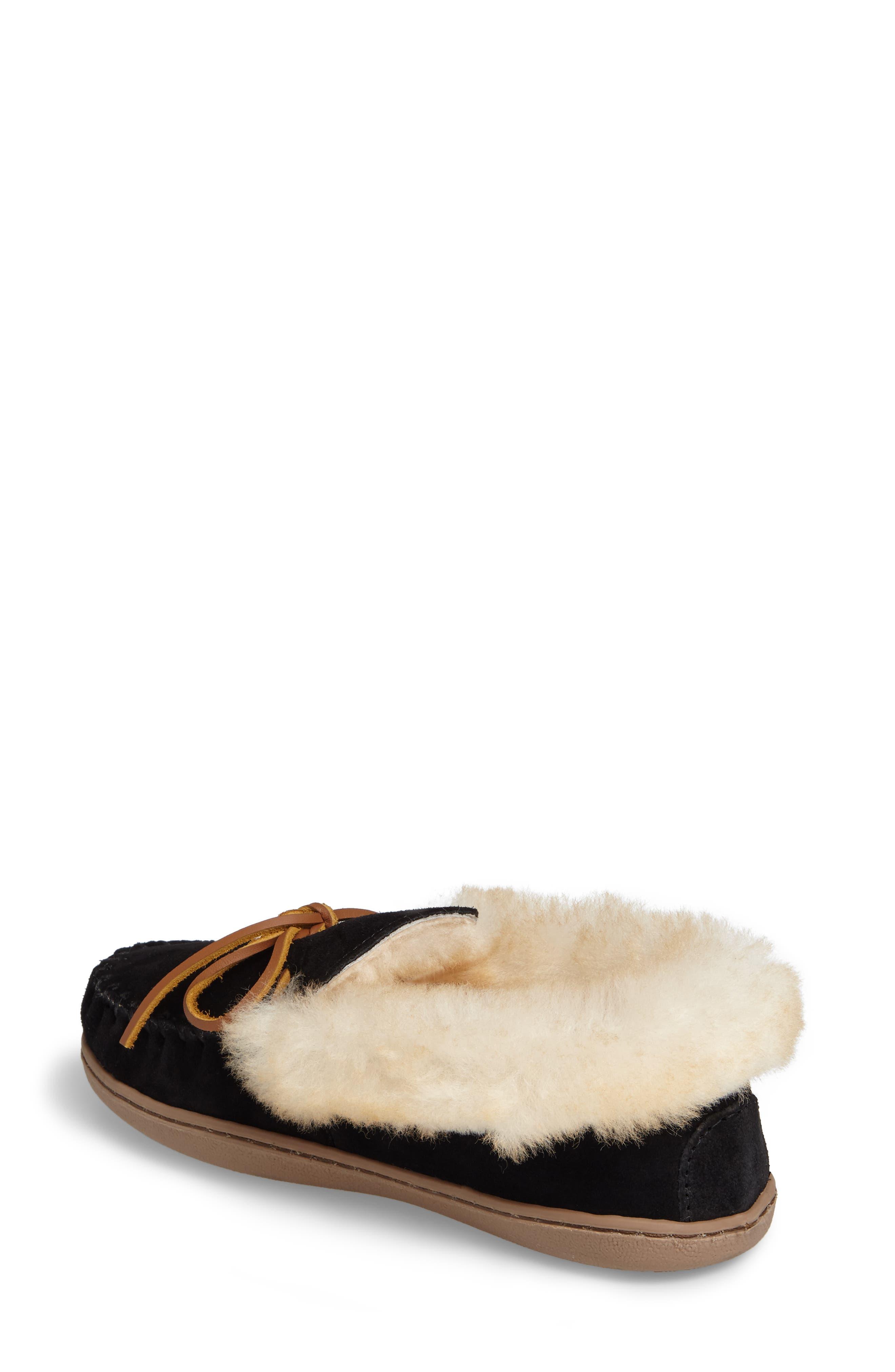MINNETONKA, Alpine Genuine Shearling Slipper, Alternate thumbnail 2, color, BLACK