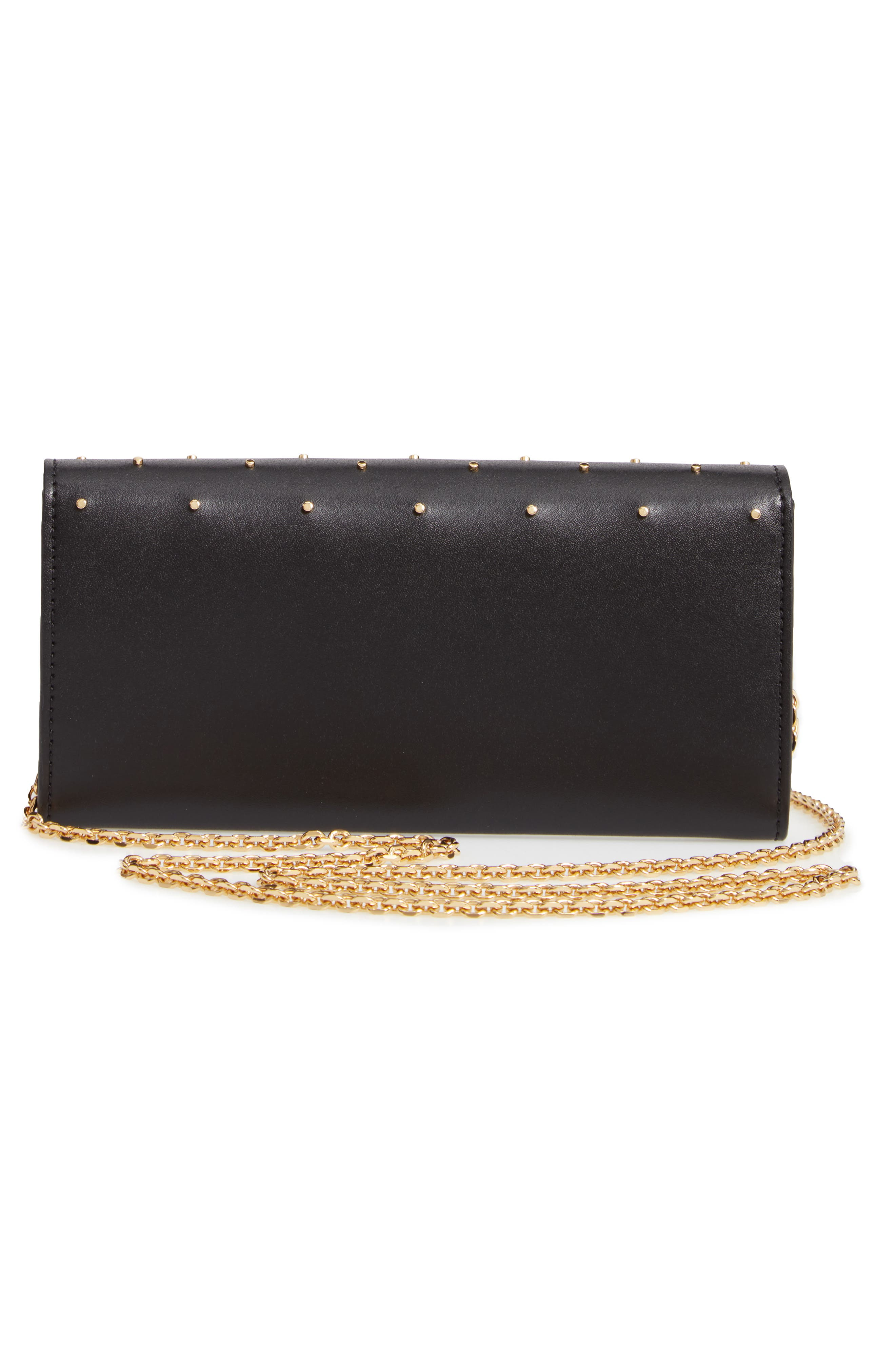 FENDI, Studded Calfskin Leather Continental Wallet on a Chain, Alternate thumbnail 3, color, 006