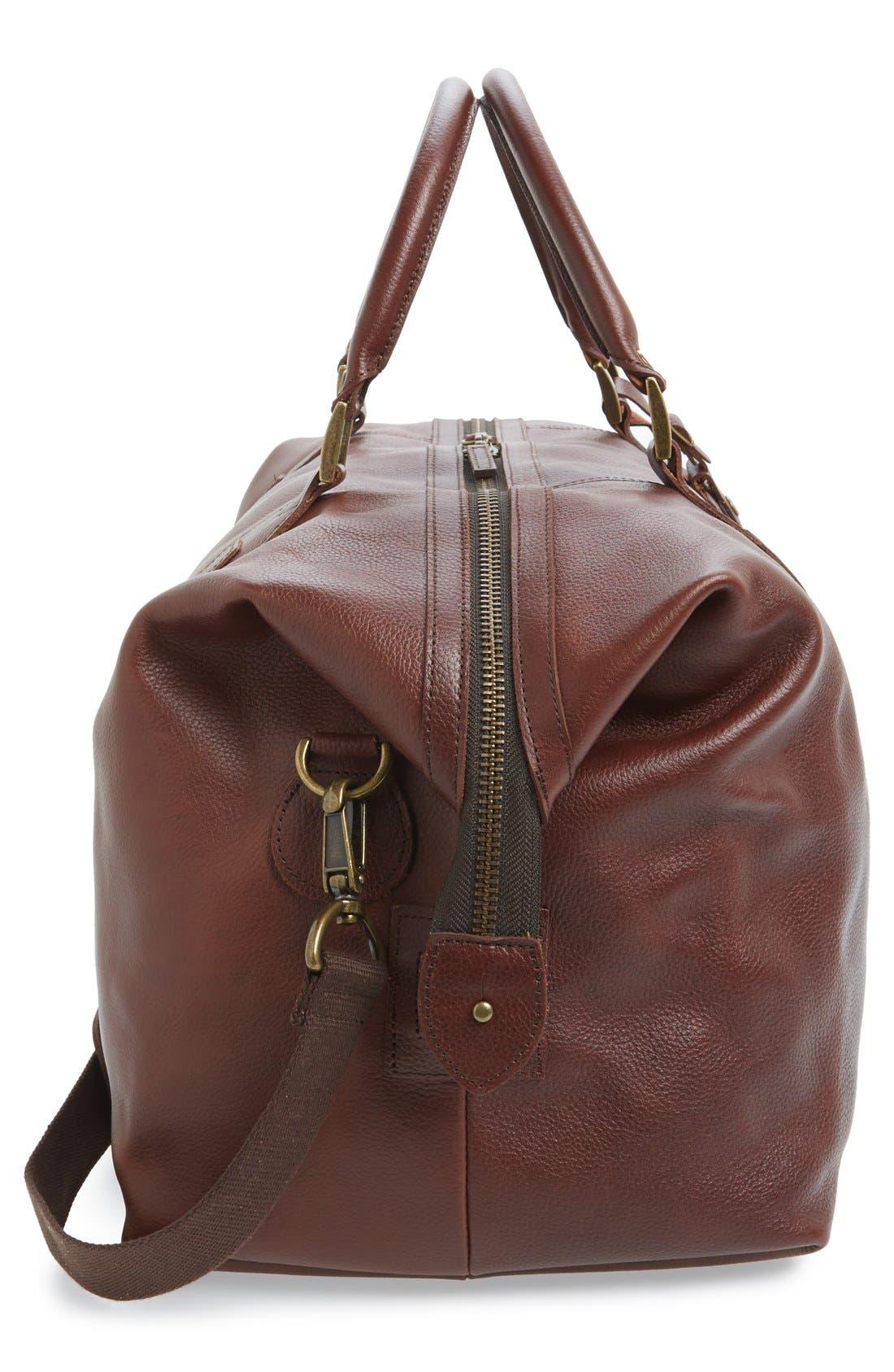 BARBOUR, Leather Travel Bag, Alternate thumbnail 6, color, DARK BROWN