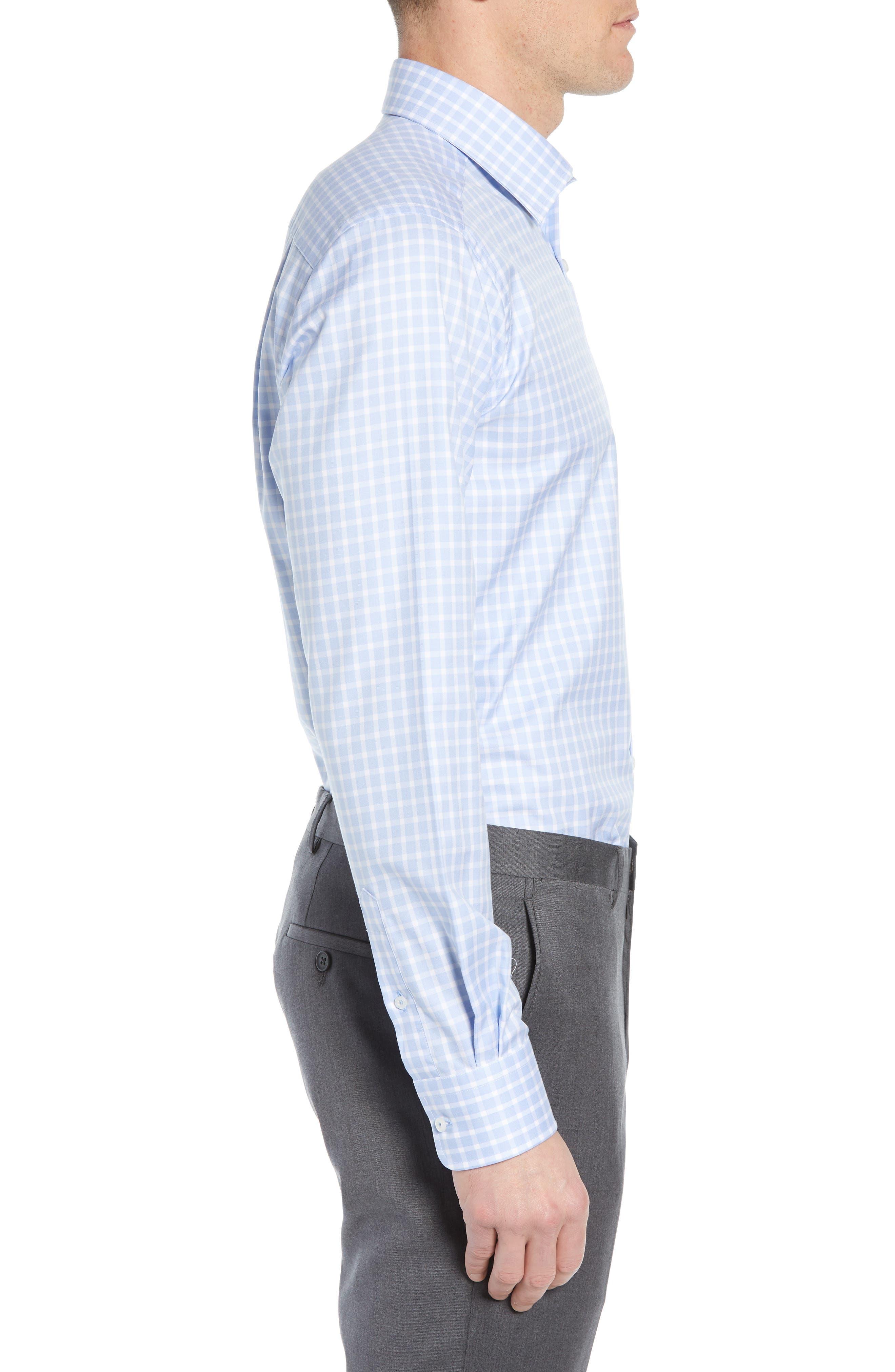 DAVID DONAHUE, Trim Fit Check Dress Shirt, Alternate thumbnail 4, color, BLUE