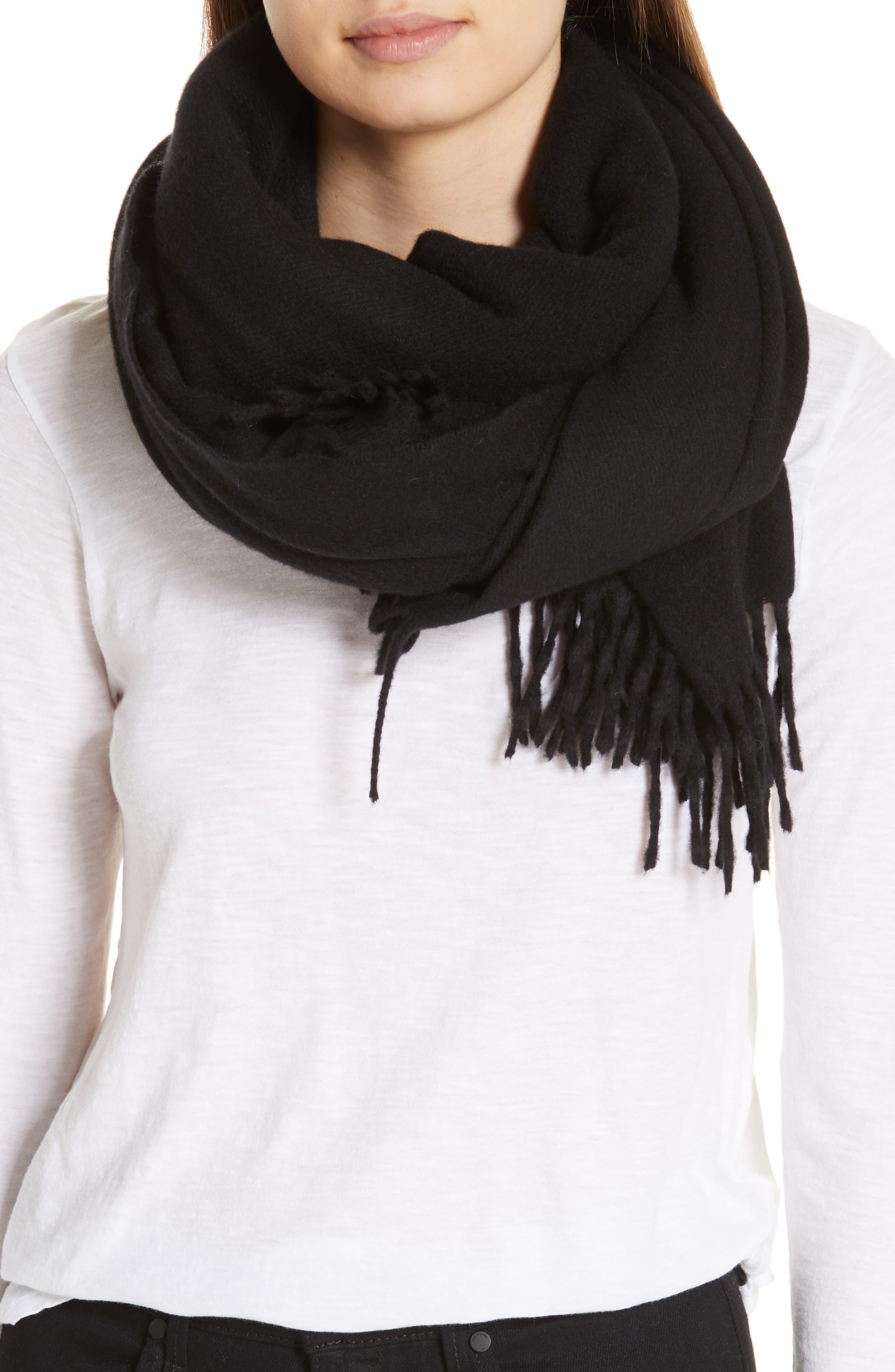 RAG & BONE, Classic Wool Scarf, Alternate thumbnail 2, color, BLACK