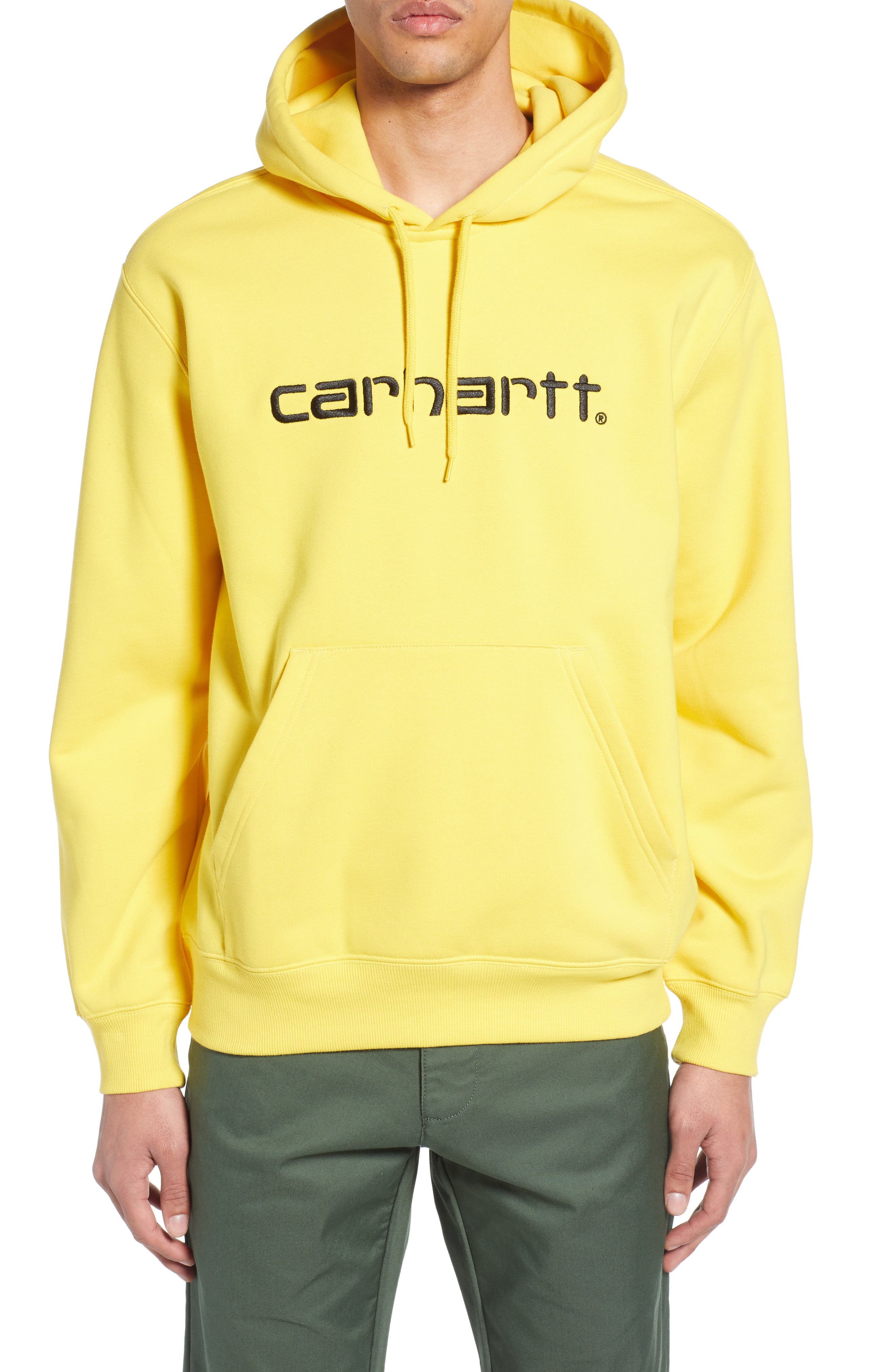 CARHARTT WORK IN PROGRESS, Hooded Sweatshirt, Main thumbnail 1, color, PRIMULA / BLACK