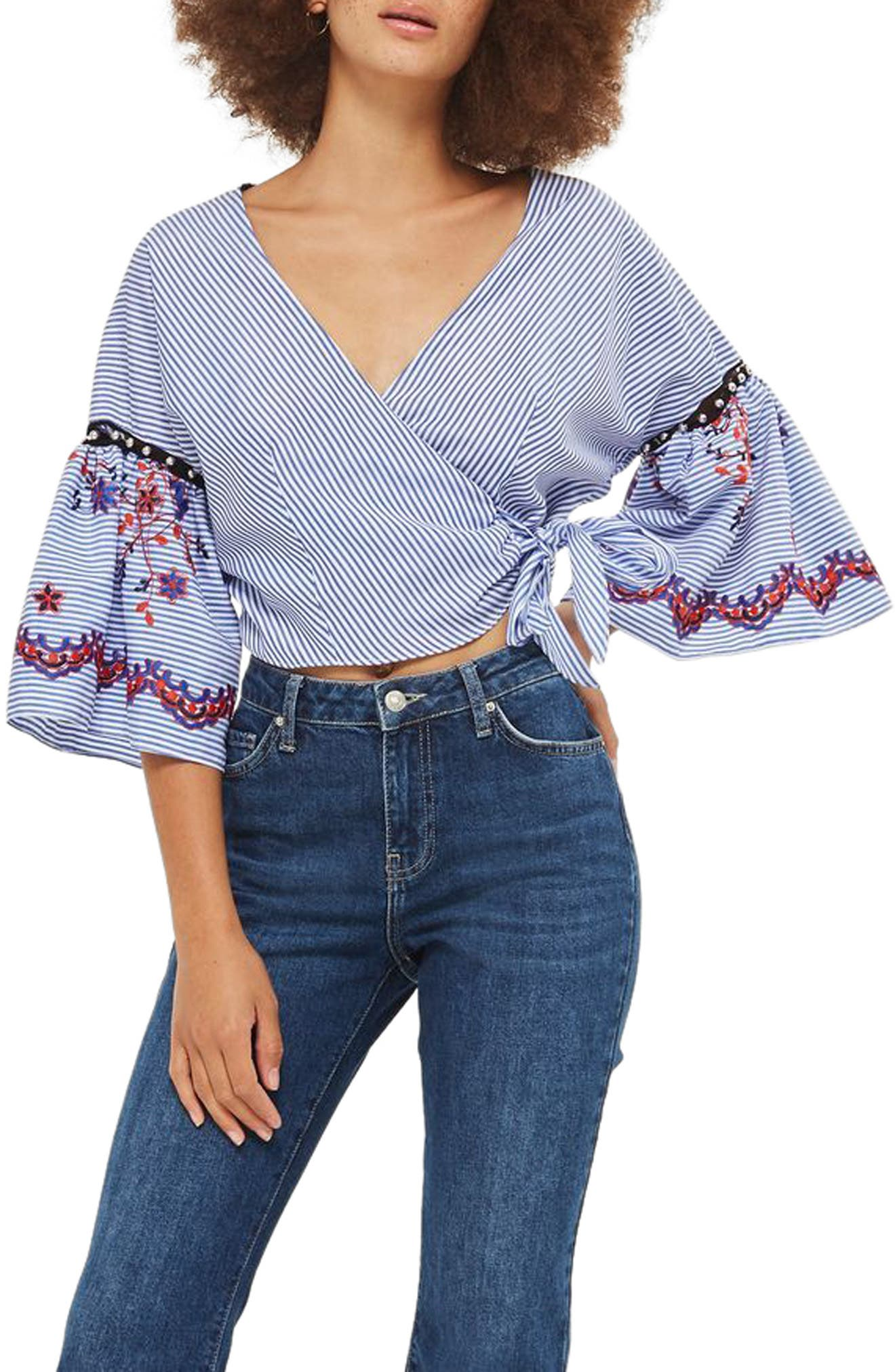 TOPSHOP, Embroidered Stripe Wrap Top, Main thumbnail 1, color, 400