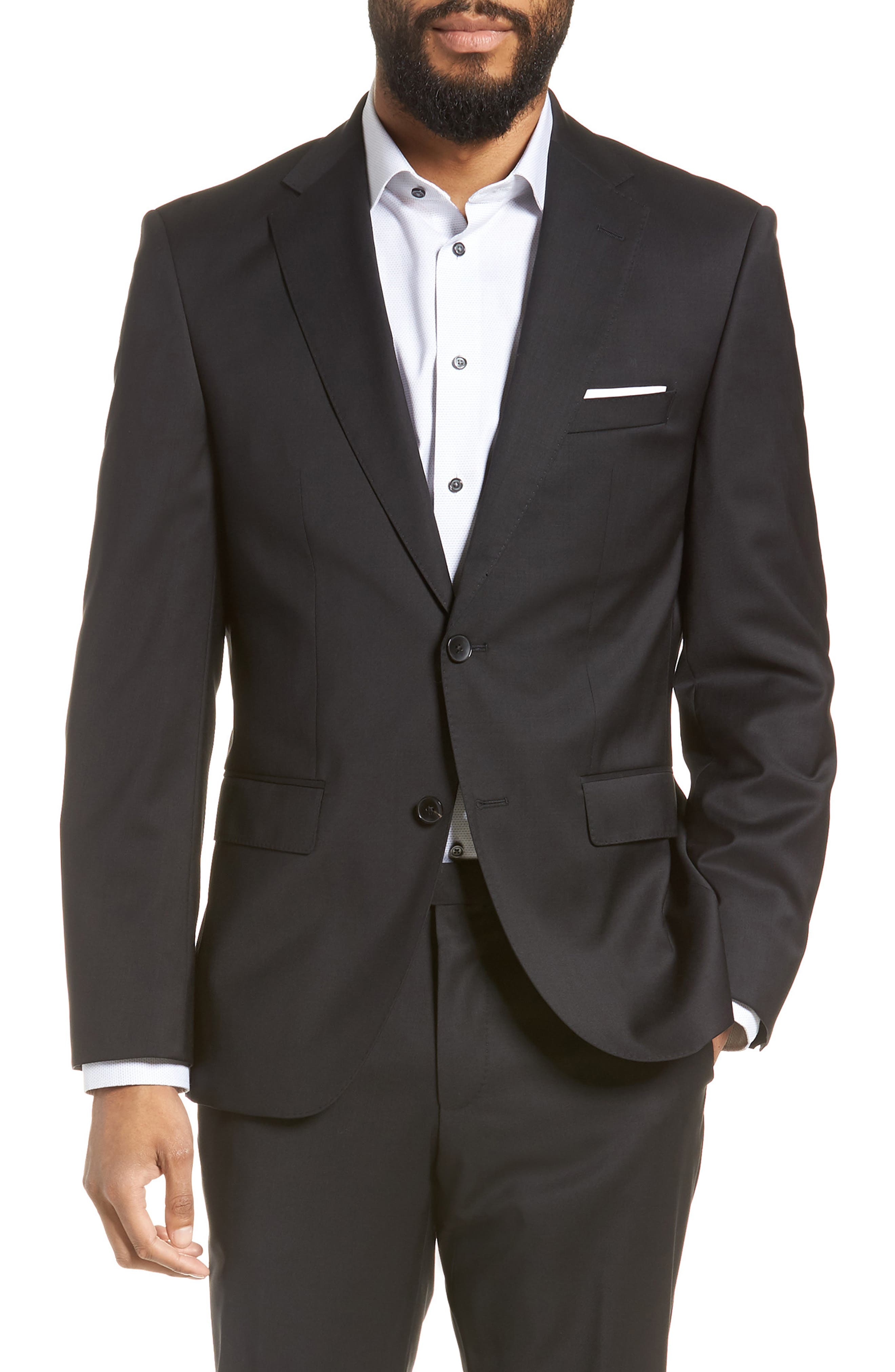 BOSS, Johnstons/Lenon Classic Fit Solid Wool Suit, Alternate thumbnail 5, color, BLACK