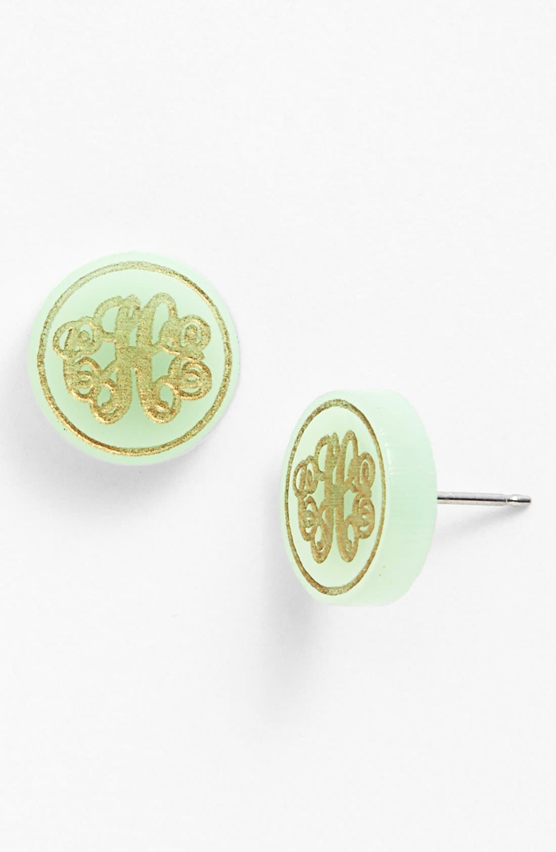 MOON AND LOLA, 'Chelsea' Small Personalized Monogram Stud Earrings, Main thumbnail 1, color, MINT/ GOLD