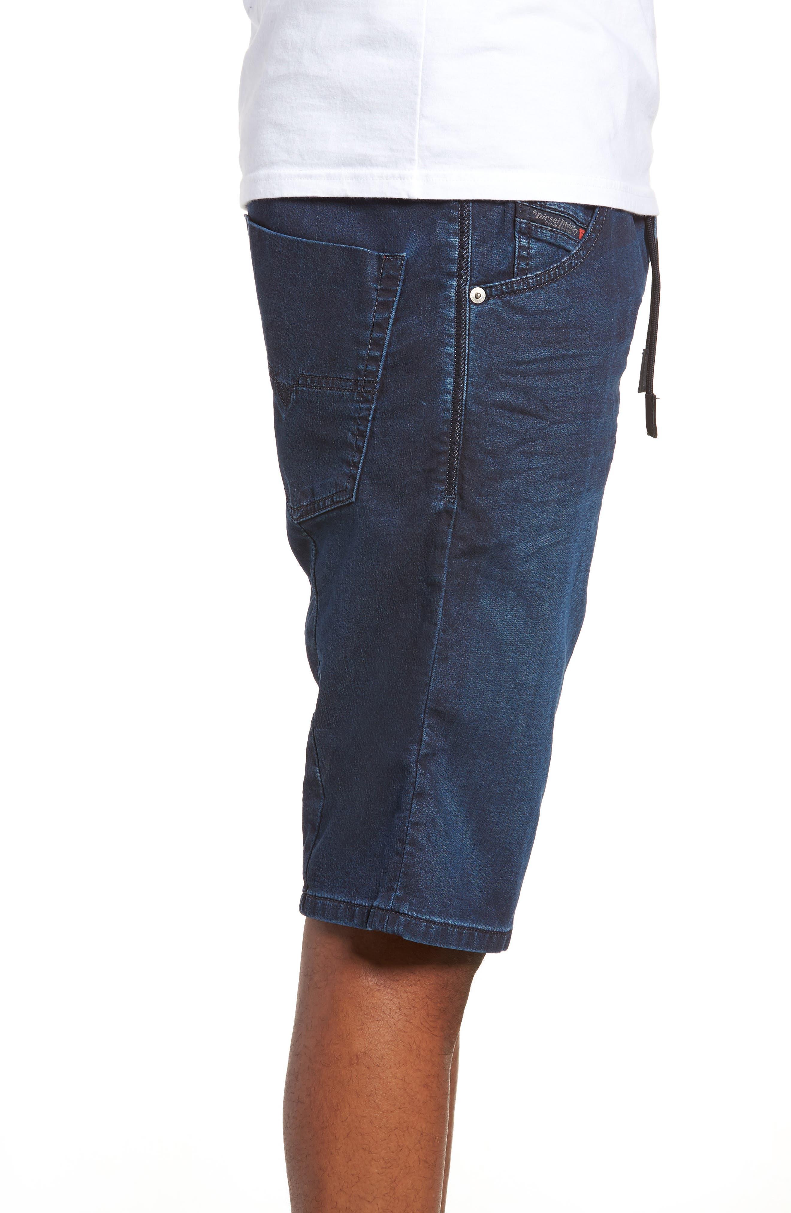 DIESEL<SUP>®</SUP>, Krooshort Denim Shorts, Alternate thumbnail 3, color, 400