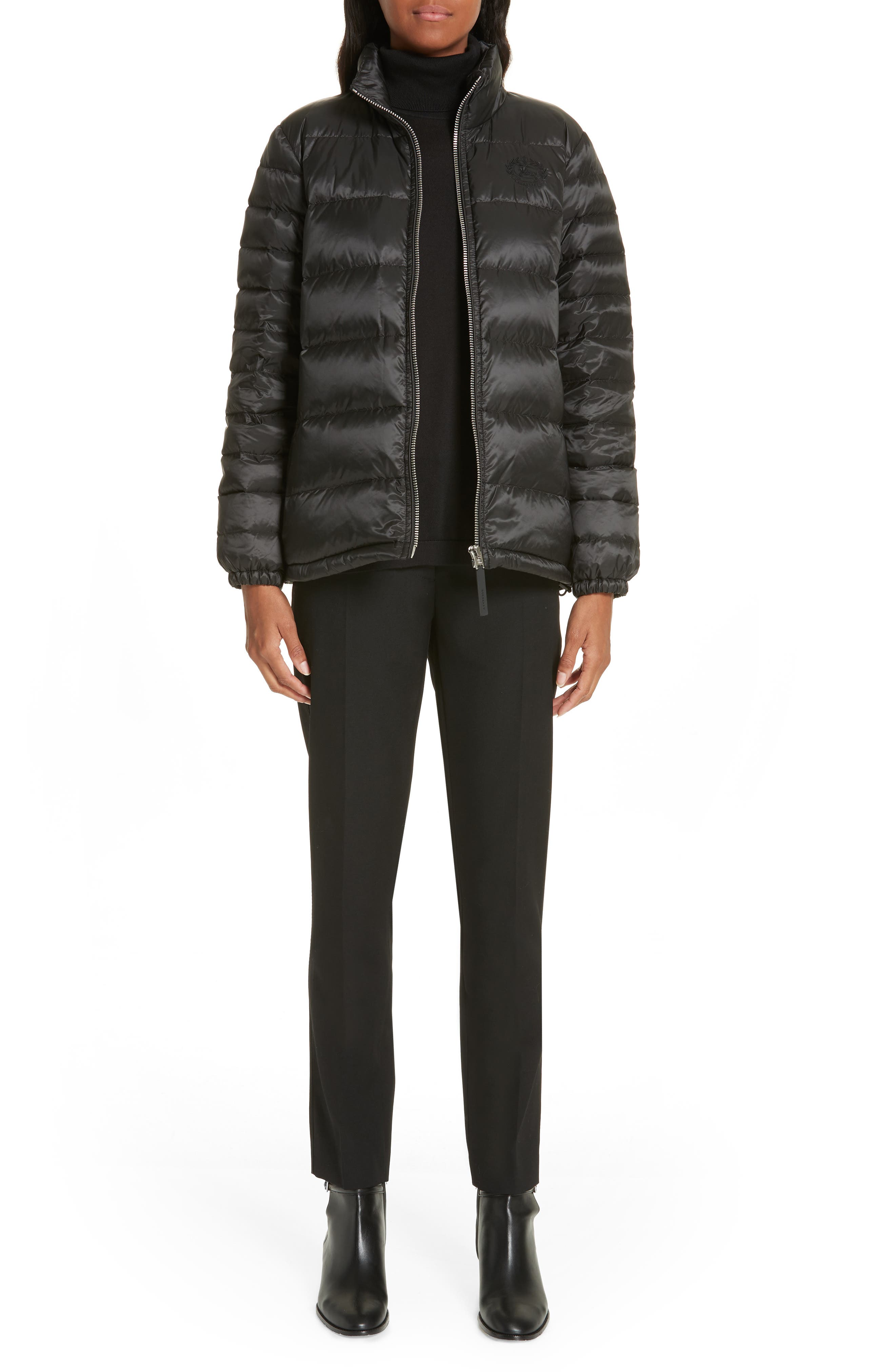 BURBERRY, Smethwick Archive Logo Quilted Down Puffer Coat, Alternate thumbnail 8, color, BLACK
