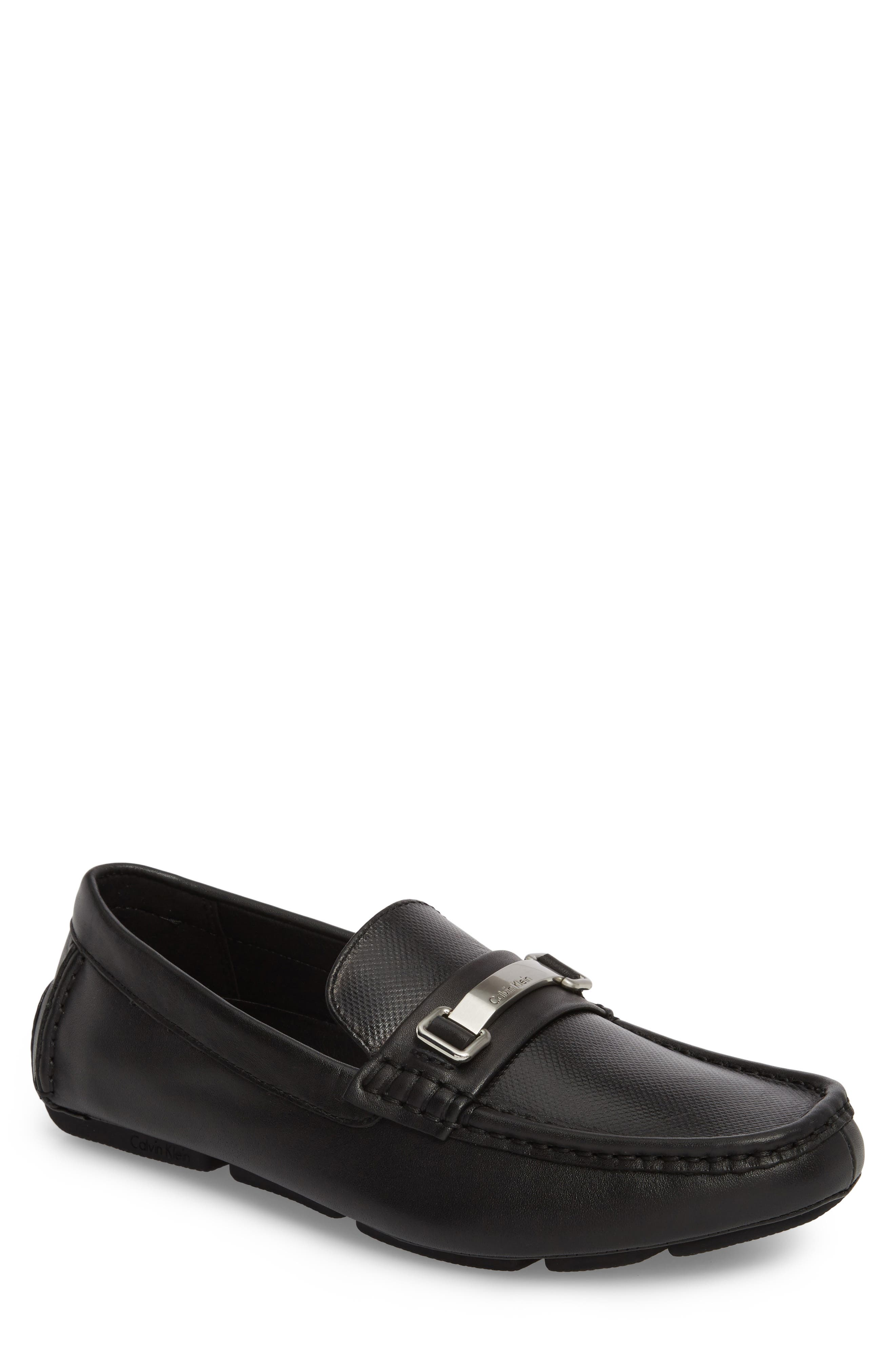 CALVIN KLEIN, Maddix Textured Driving Moccasin, Main thumbnail 1, color, BLACK LEATHER