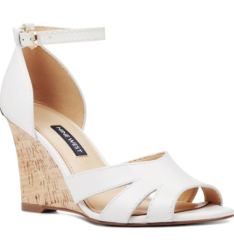 4b92412dad NINE WEST Lilly Ankle Strap Wedge Sandal, Main, color, WHITE LEATHER/ LIGHT