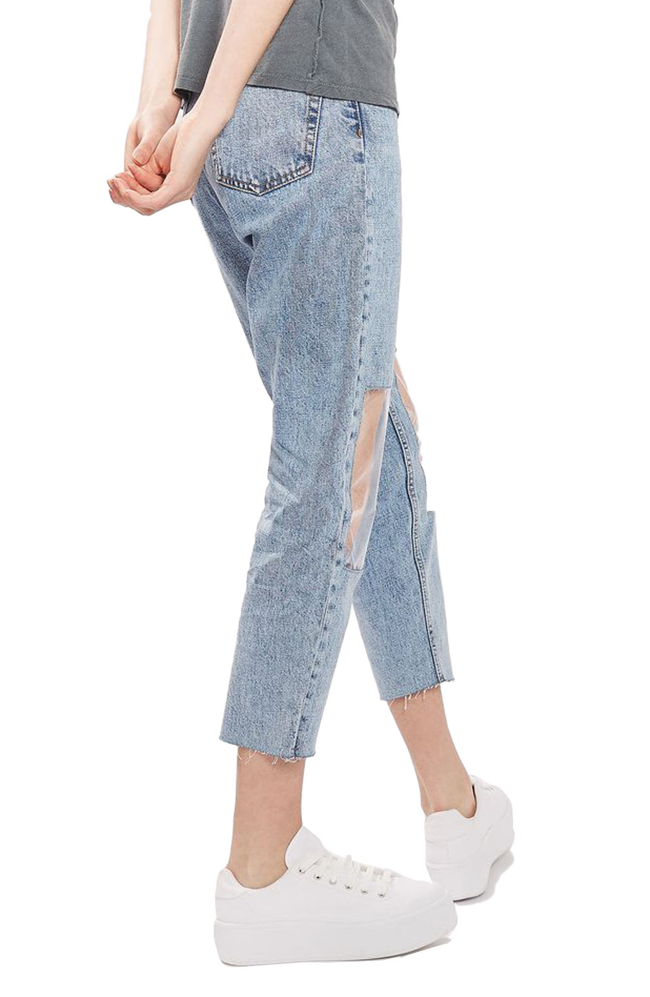 TOPSHOP, Clear Knee Mom Jeans, Alternate thumbnail 2, color, 400