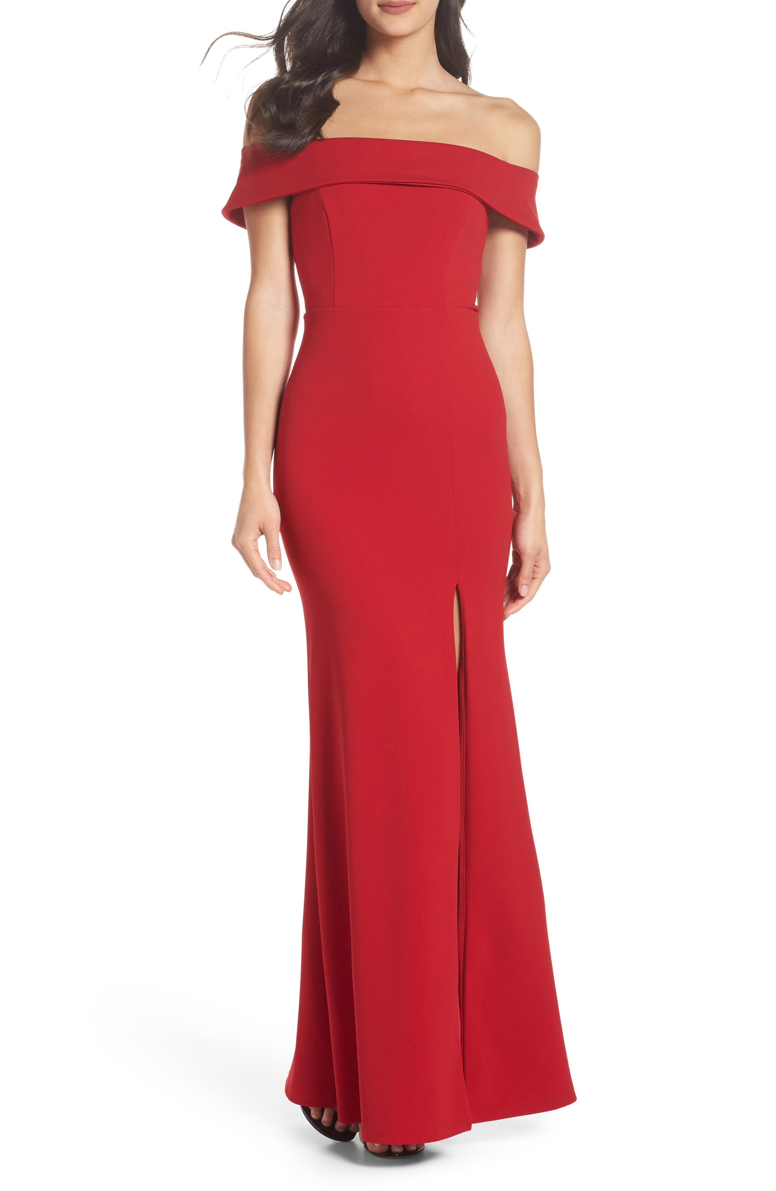 LULUS, Off the Shoulder Mermaid Gown, Main thumbnail 1, color, RED